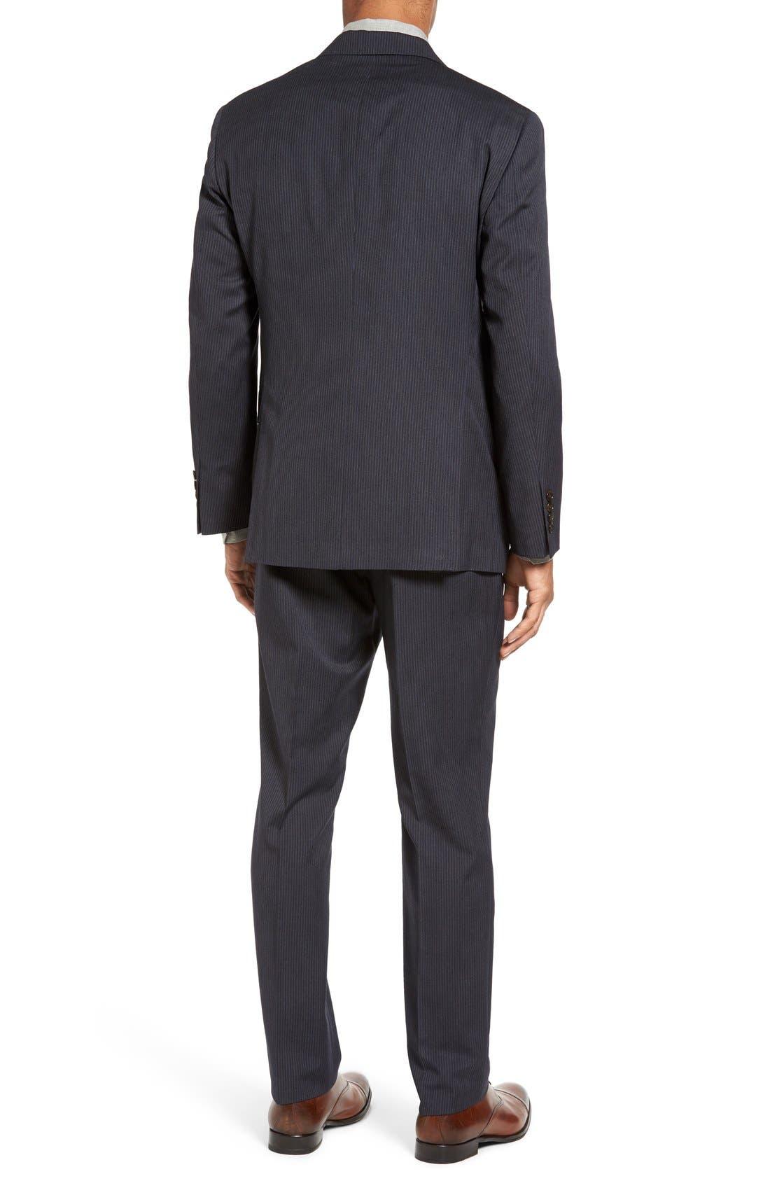 Trim Fit Stripe Wool Suit,                             Alternate thumbnail 2, color,                             Dark Grey