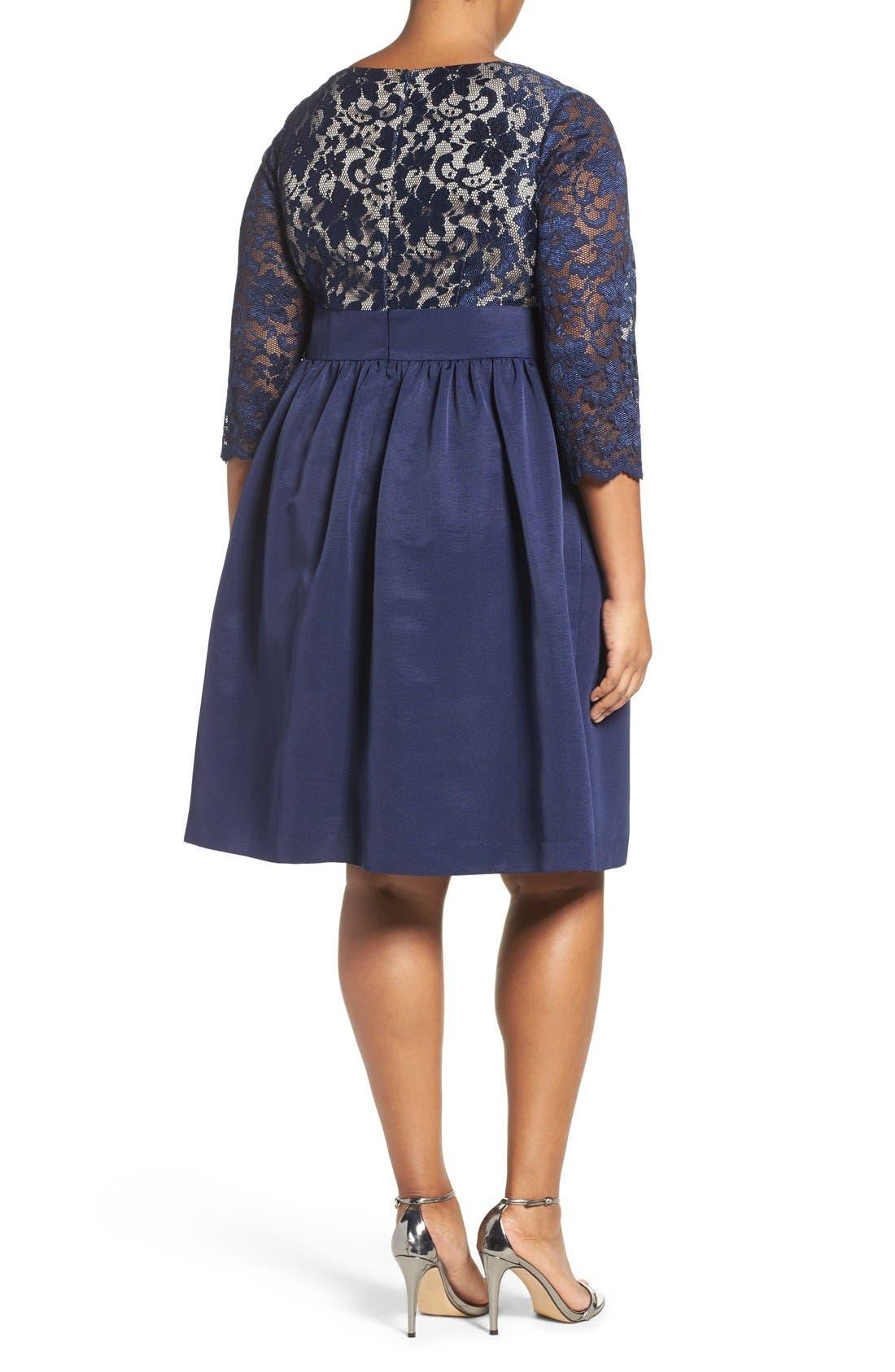 Alternate Image 3  - Eliza J Lace & Faille Dress (Plus Size)