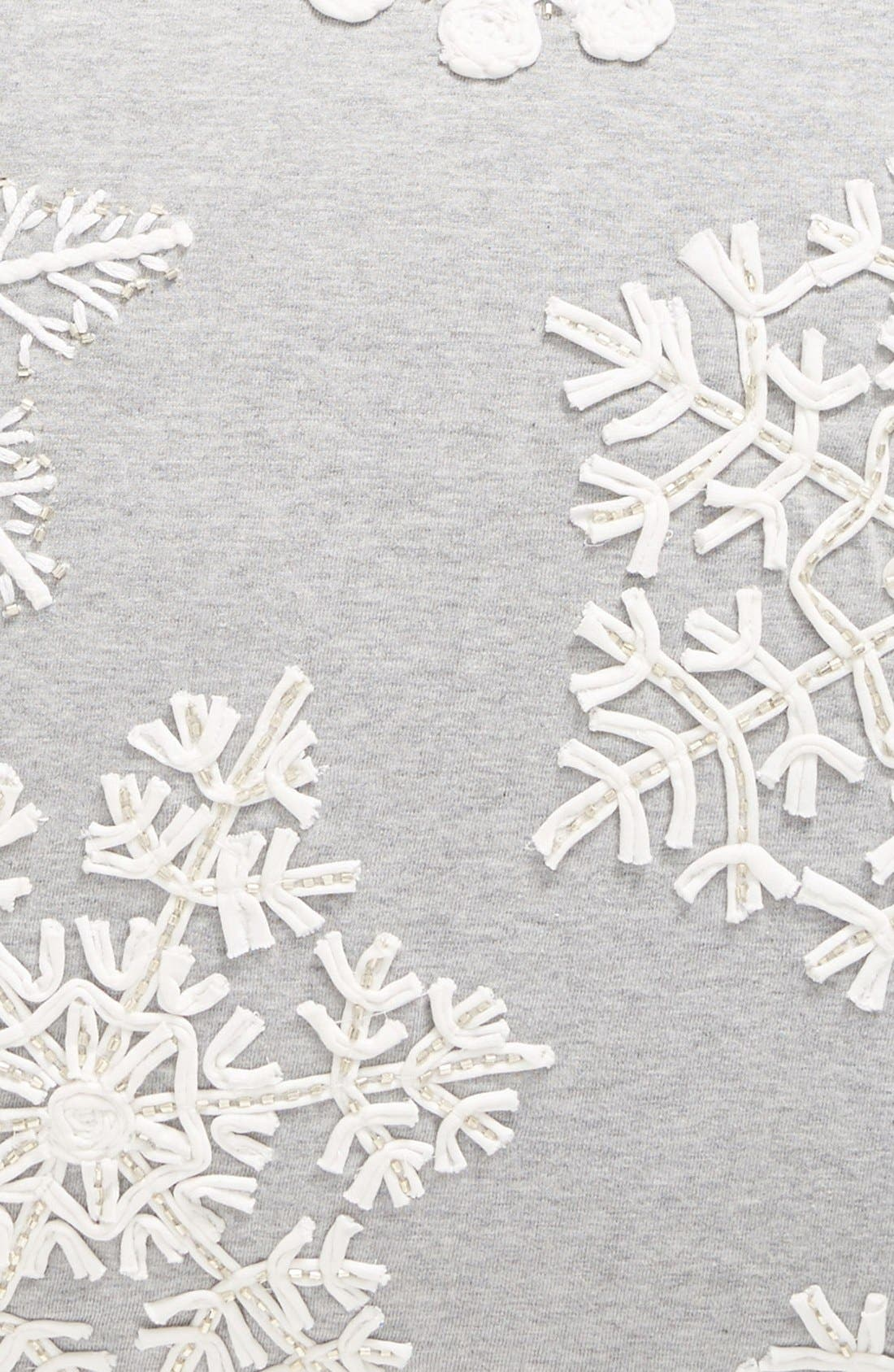 Snowflake Jersey Accent Pillow,                             Alternate thumbnail 3, color,                             Grey Heather