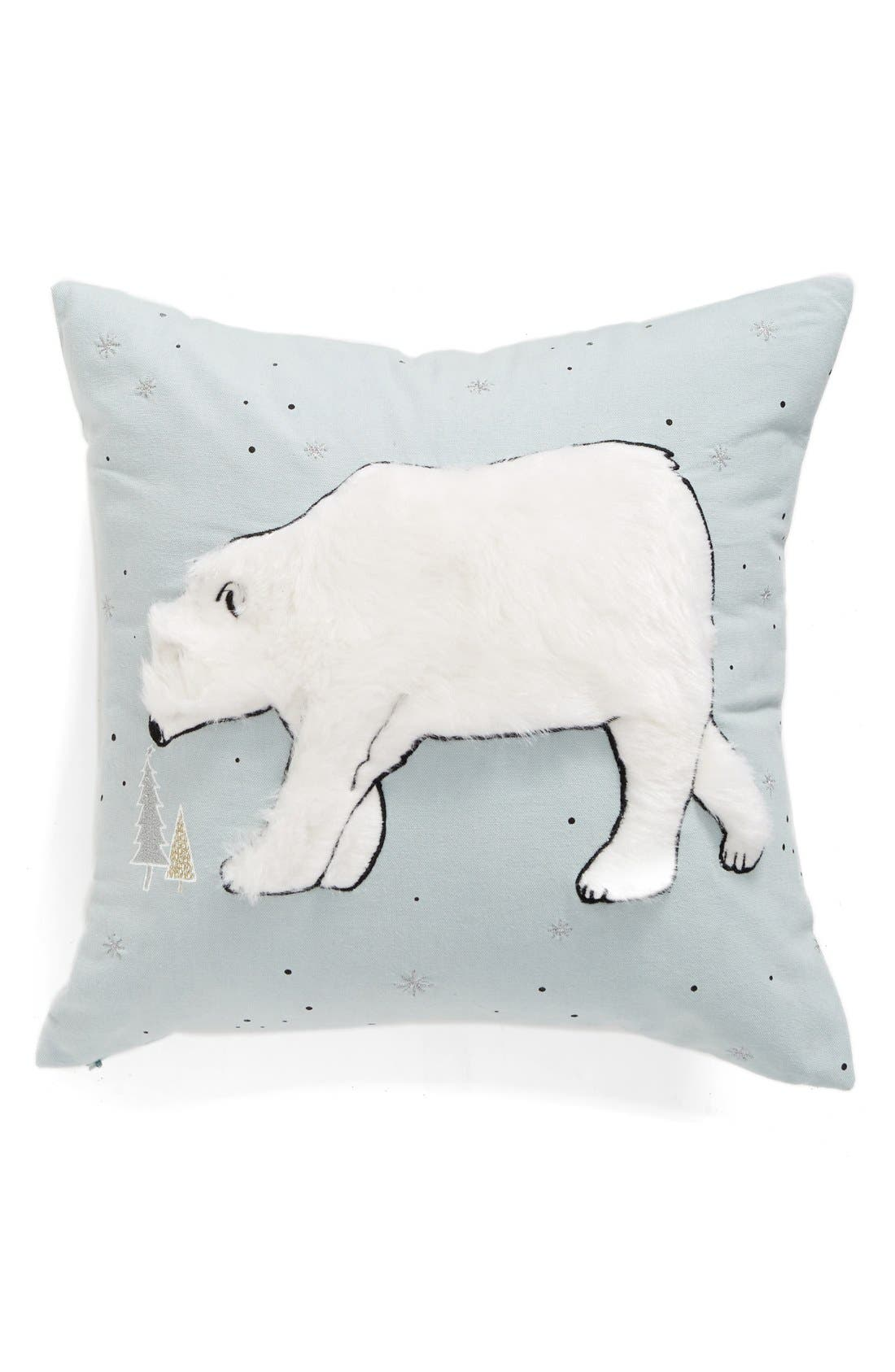 Winter Bear Pillow,                             Main thumbnail 1, color,                             Teal Mist Multi