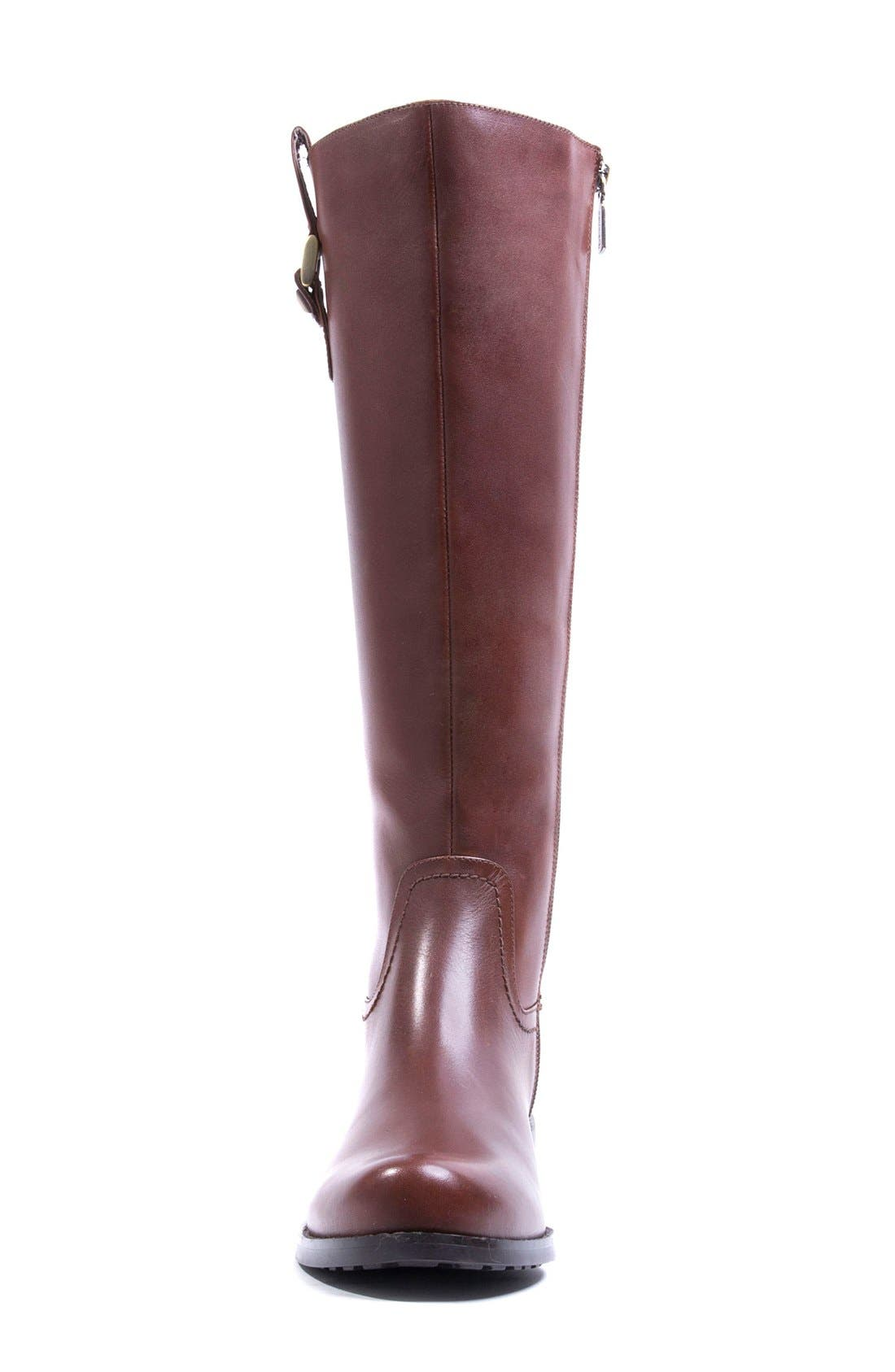 'Velvet' Waterproof Riding Boot,                             Alternate thumbnail 3, color,                             Butterscotch Leather