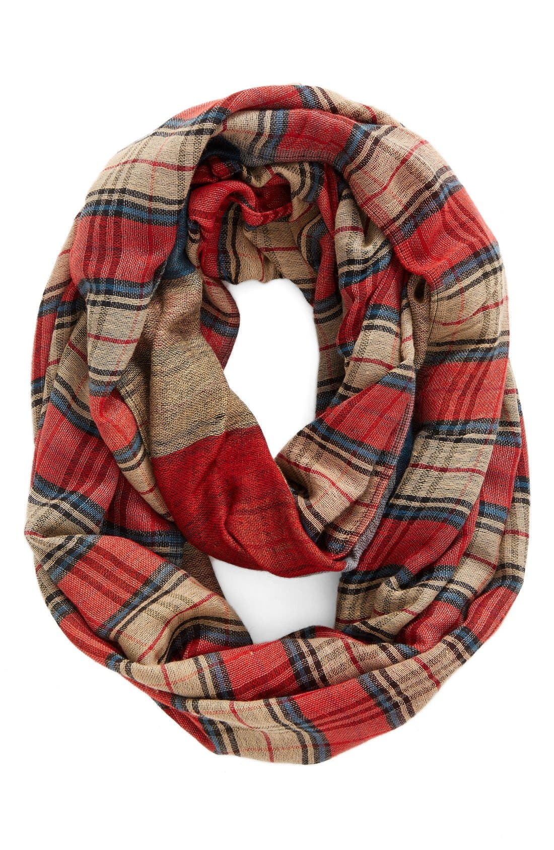 Plaid Infinity Scarf,                             Main thumbnail 1, color,                             Blue/ Red