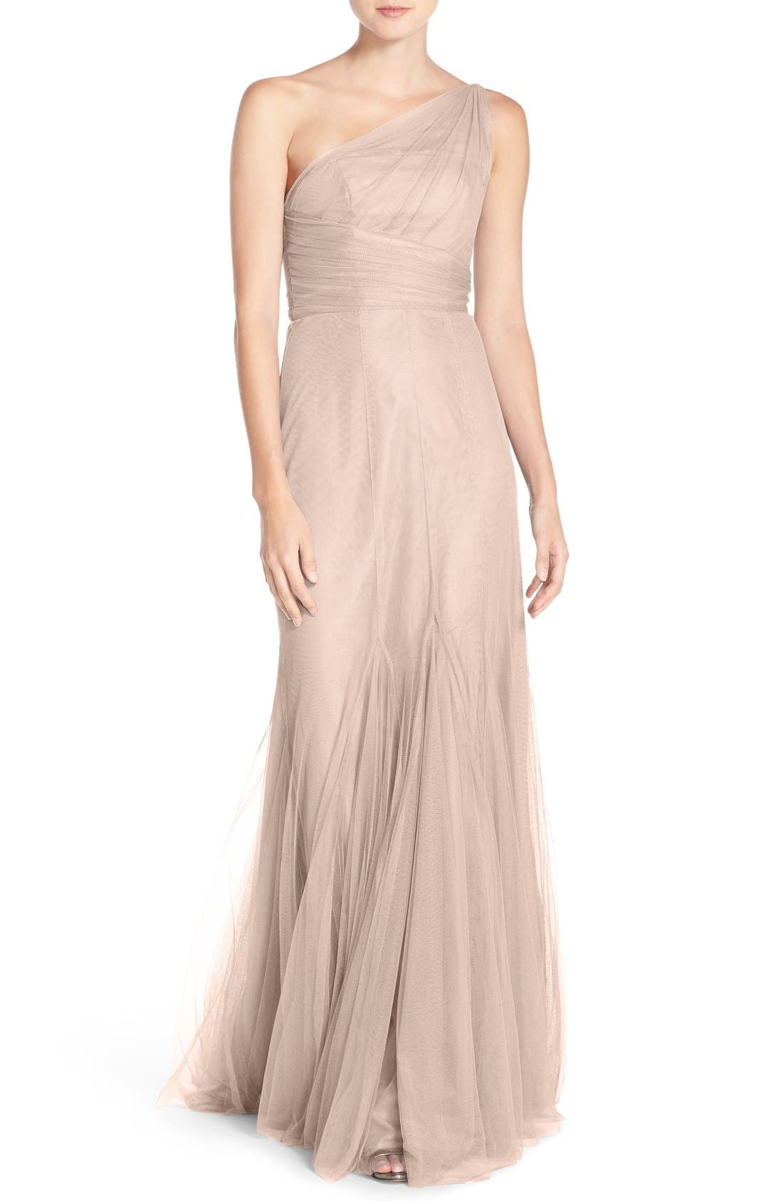 One-Shoulder Tulle Trumpet Gown,                         Main,                         color, Blush
