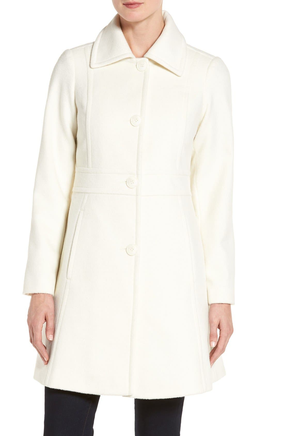Wool Blend Walking Coat,                             Alternate thumbnail 5, color,                             Winter White
