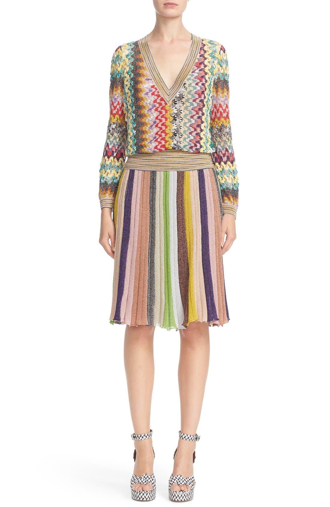 Alternate Image 7  - Missioni Metallic Stripe Skirt