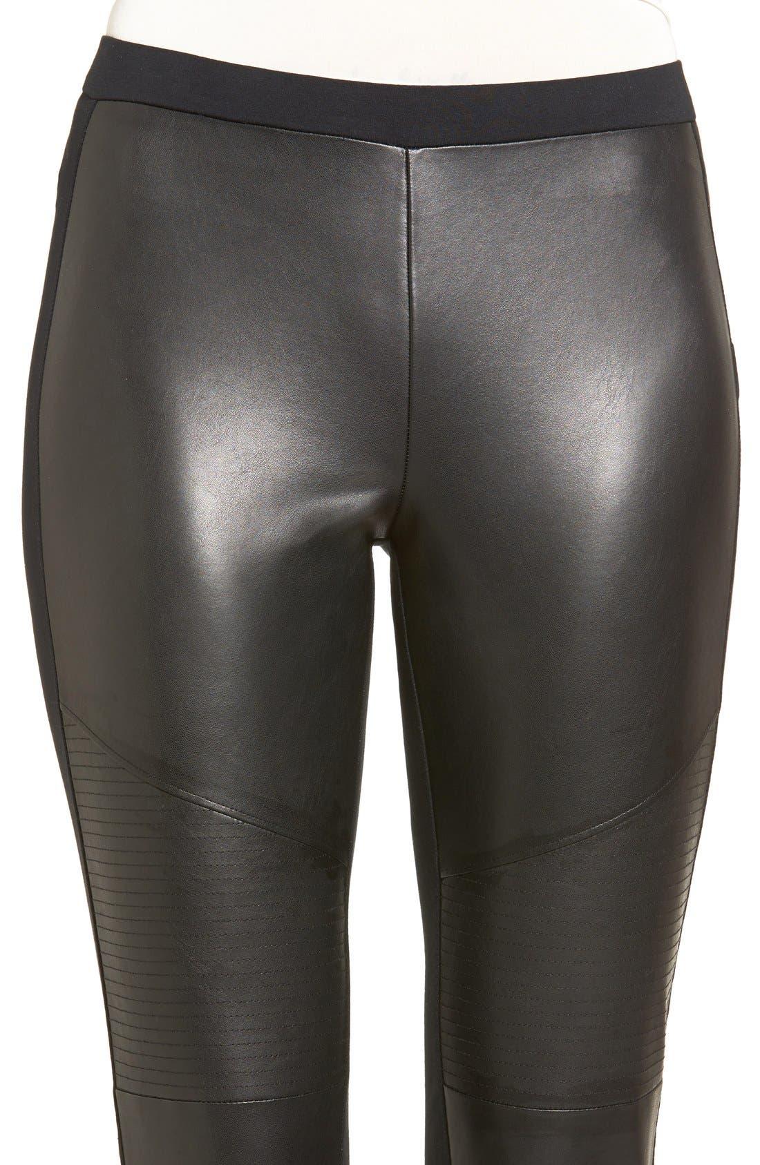 Alternate Image 4  - BP. Faux Leather Front Moto Leggings