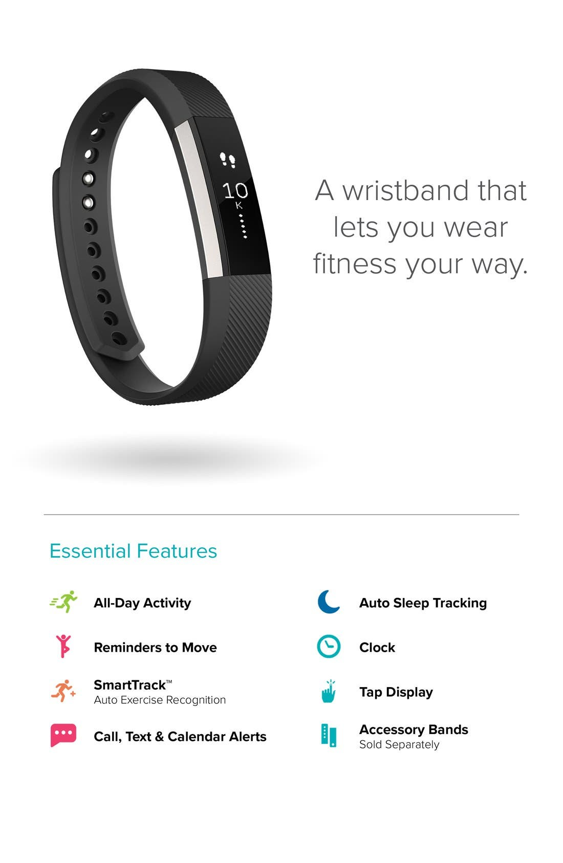 'Alta' Wireless Fitness Tracker,                             Alternate thumbnail 5, color,                             Black