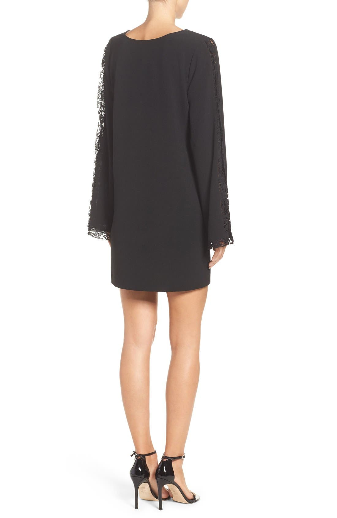 Lacey Bell Sleeve Shift Dress,                             Alternate thumbnail 2, color,                             Black