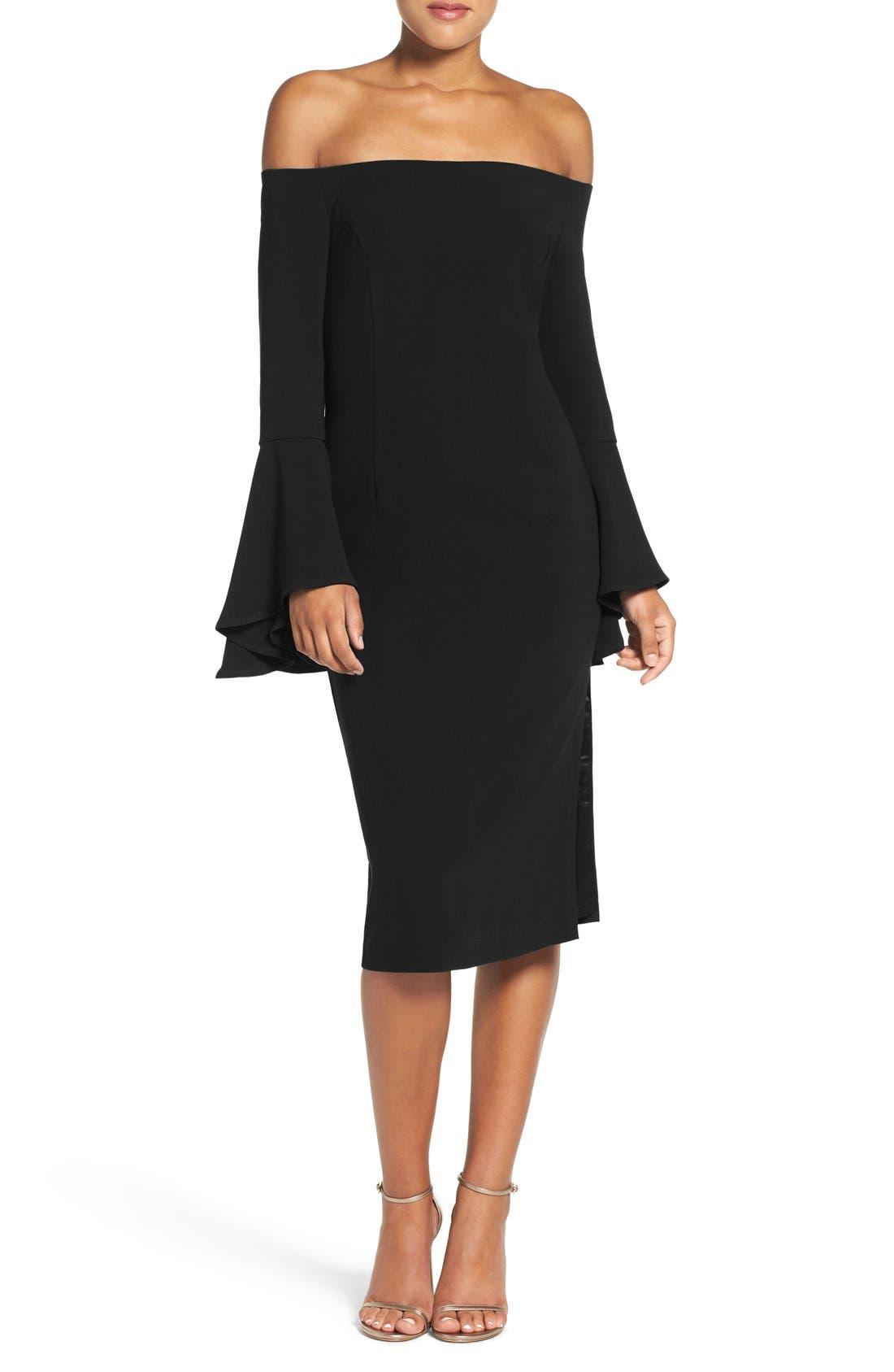 'Solange' Off the Shoulder Midi Dress,                         Main,                         color, Black