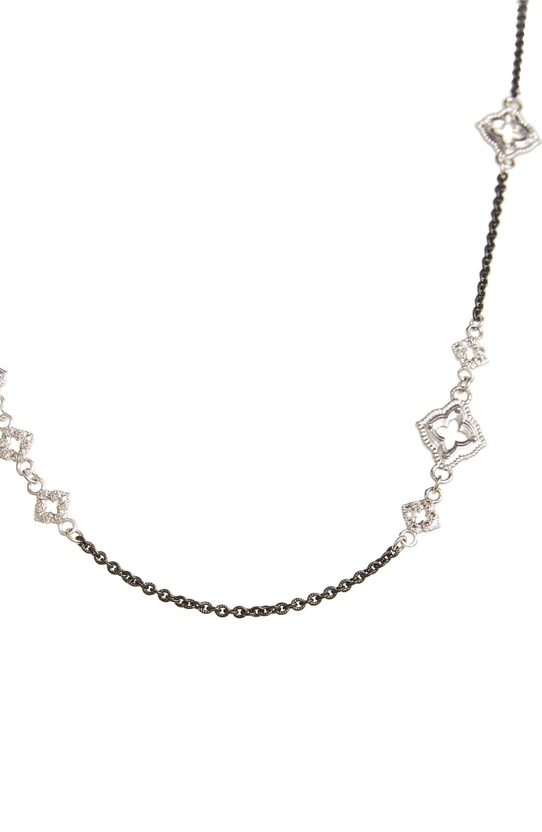 New World Chain Scroll Station Necklace,                             Alternate thumbnail 2, color,                             Champagne/ Black