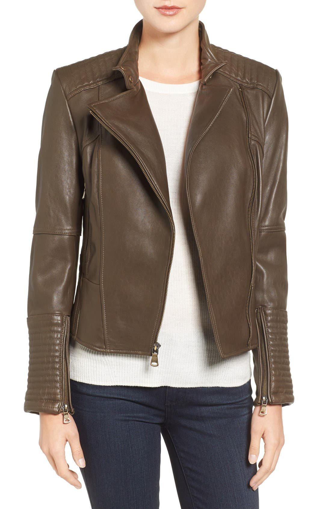 Alternate Image 1 Selected - Vince Camuto Asymmetrical Leather Moto Jacket (Online Only)