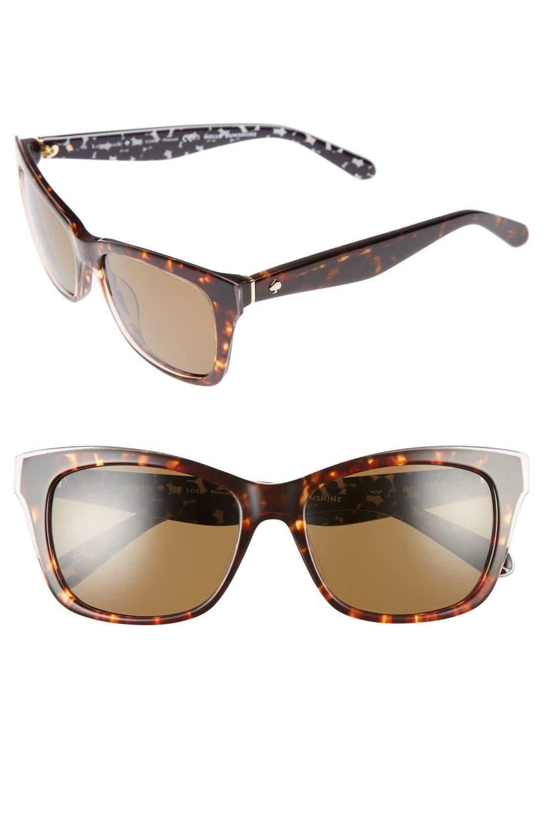 jenae 53mm polarized sunglasses,                         Main,                         color, Havana/ Cream/ Transparent