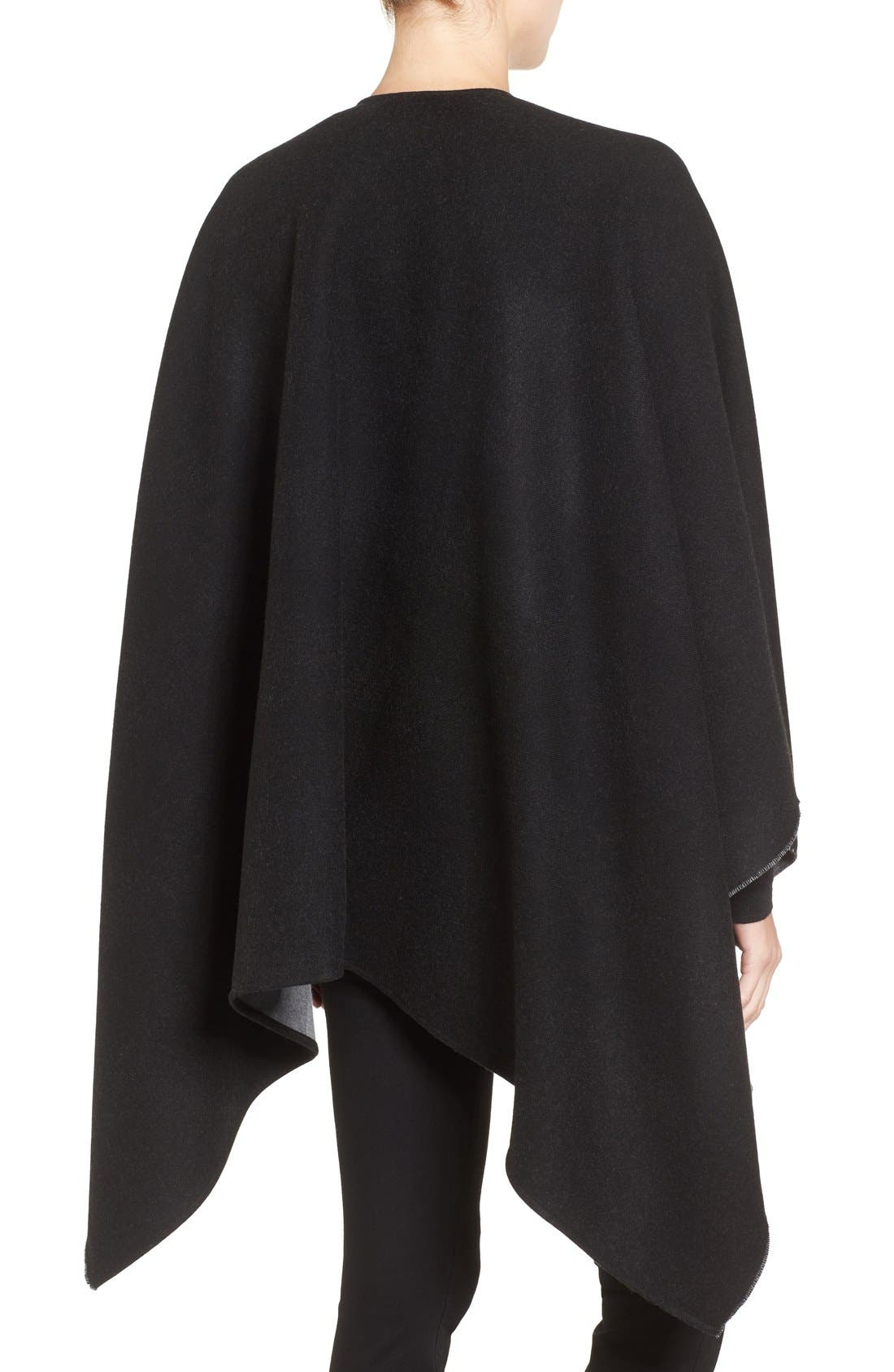 Reversible Merino Wool Cape,                             Alternate thumbnail 2, color,                             Charcoal