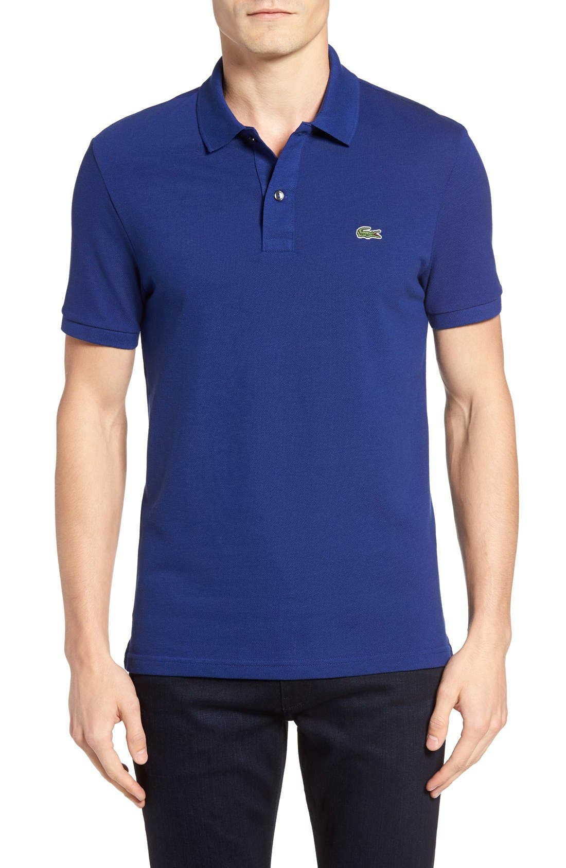 Slim Fit Piqué Polo,                         Main,                         color, Varsity Blue