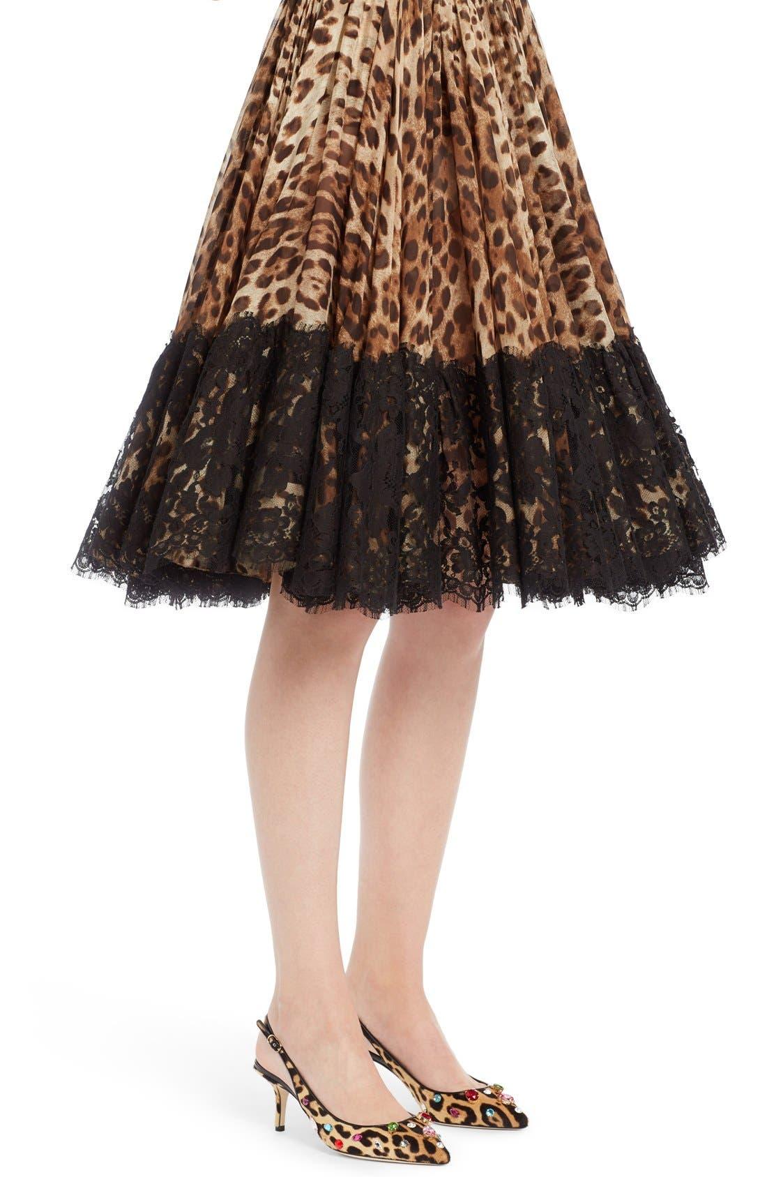 Lace Overlay Leopard Print Chiffon Full Skirt,                             Alternate thumbnail 5, color,                             Leopard