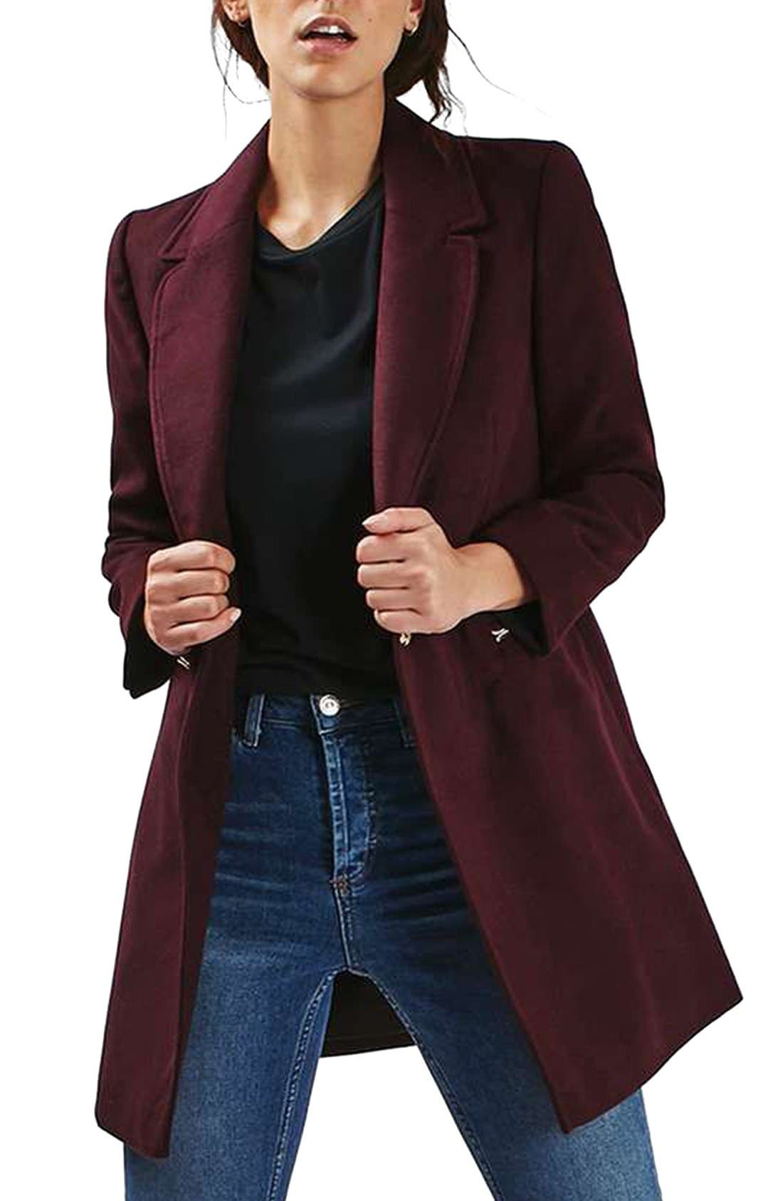 'Meg' Zip Pocket Coat,                             Main thumbnail 1, color,                             Burgundy