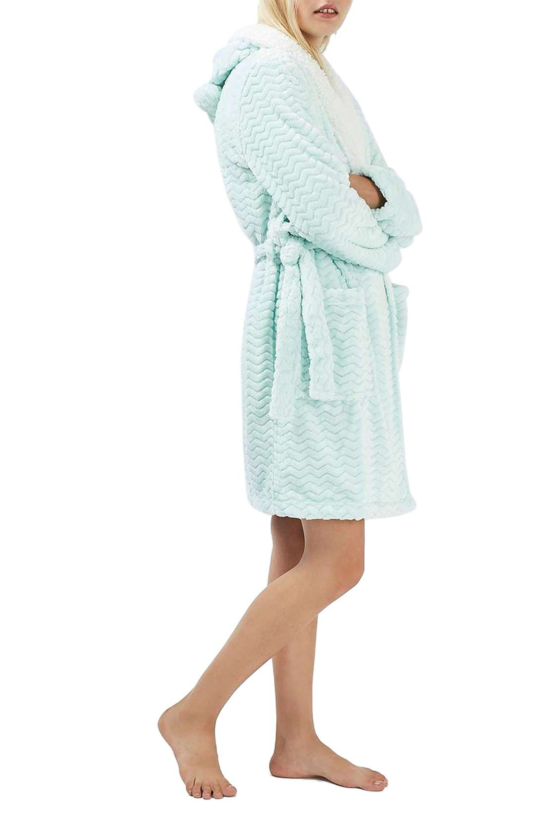 Alternate Image 2  - Topshop Teddy Hooded Chevron Robe