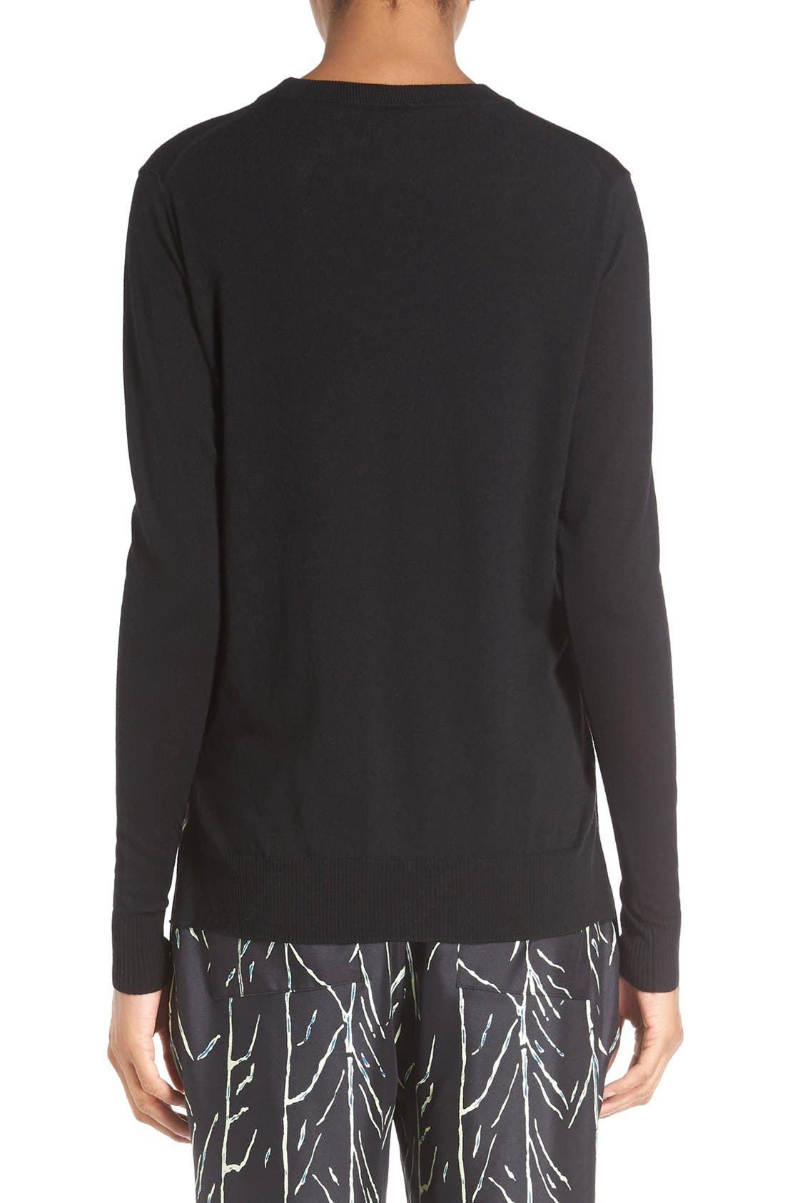 Superfine Merino Wool Sweater,                             Alternate thumbnail 2, color,                             Black