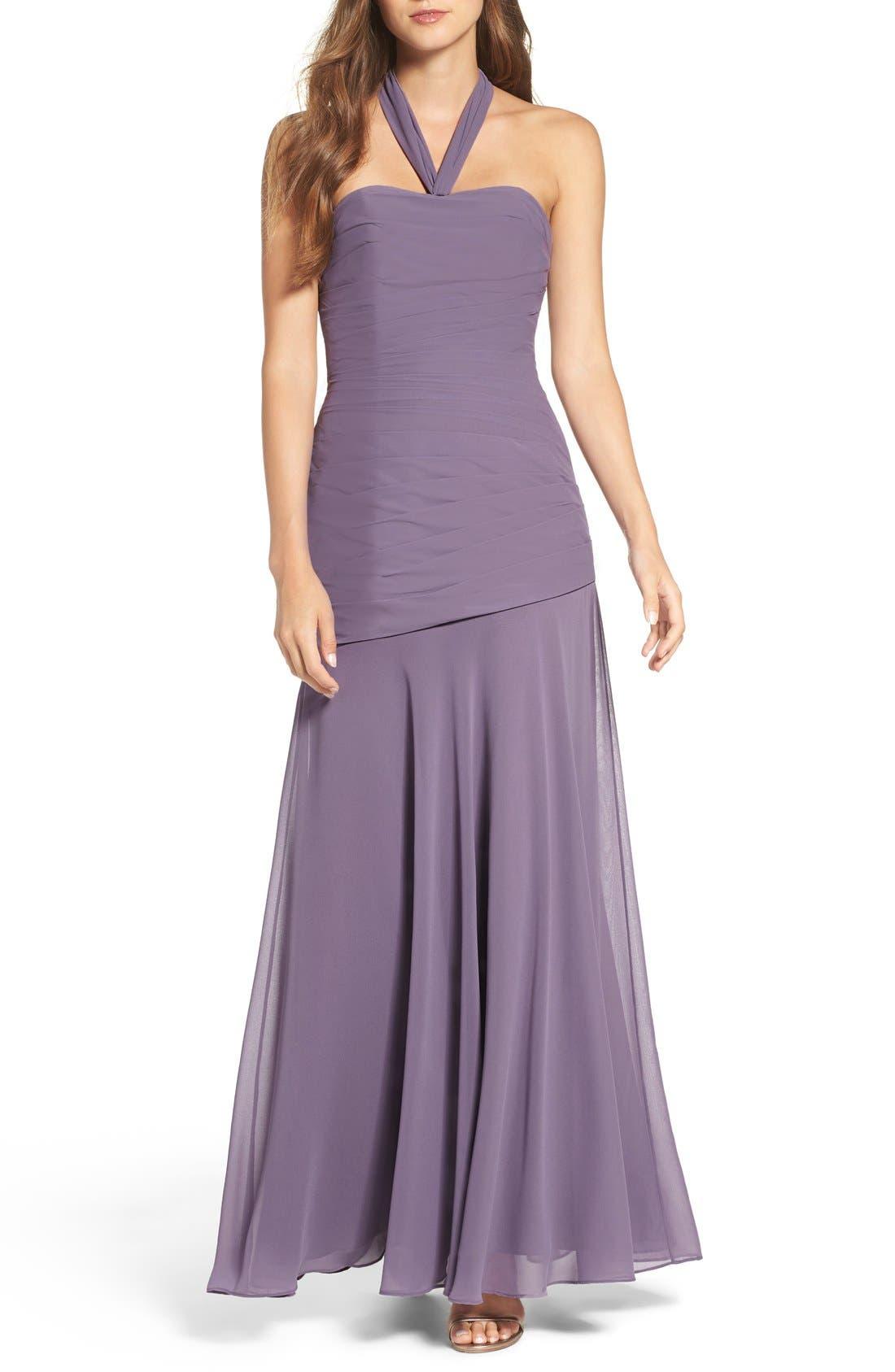 Chiffon Halter Gown,                         Main,                         color, Wisteria