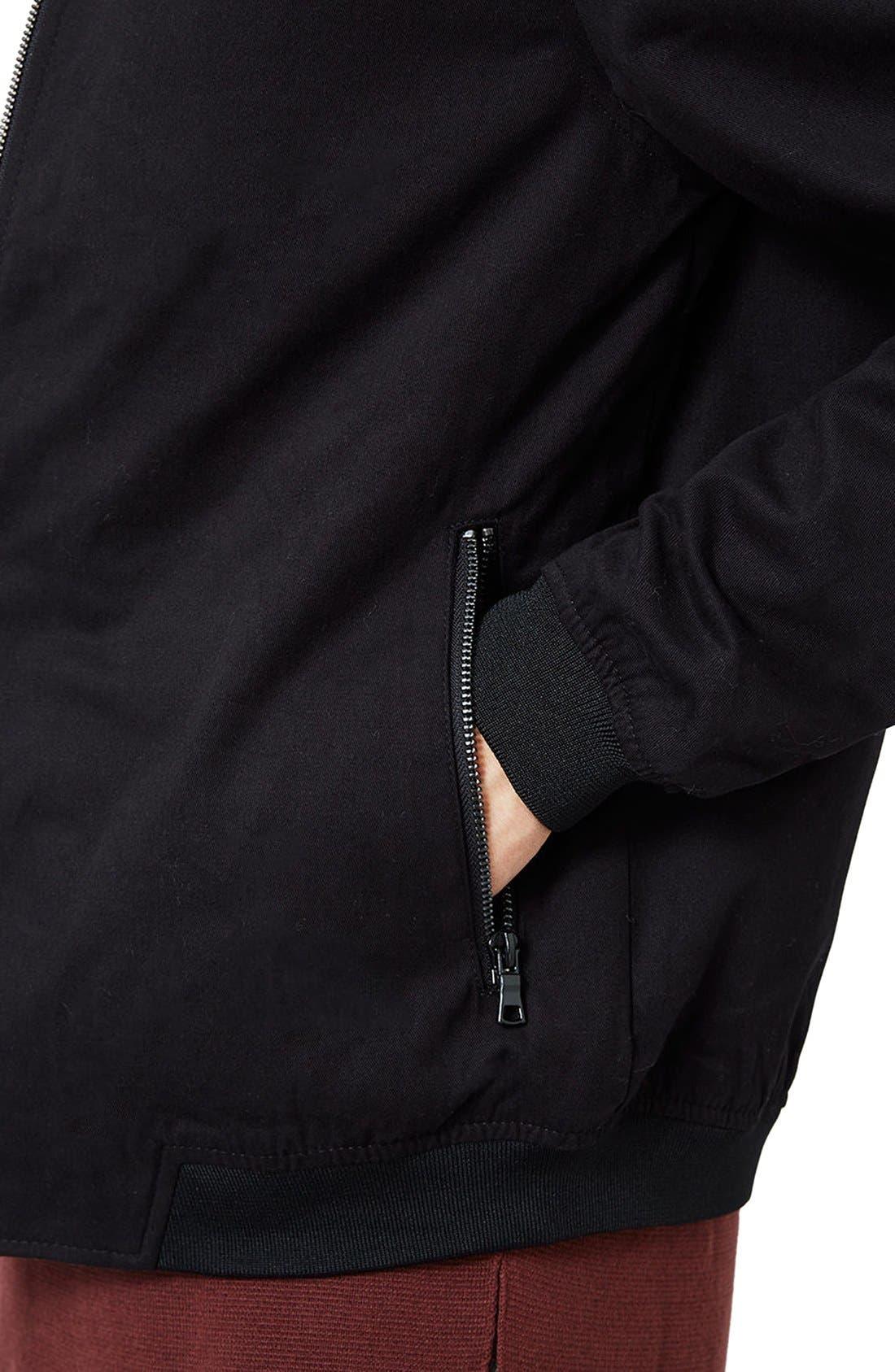 Cotton Bomber Jacket,                             Alternate thumbnail 4, color,                             Black