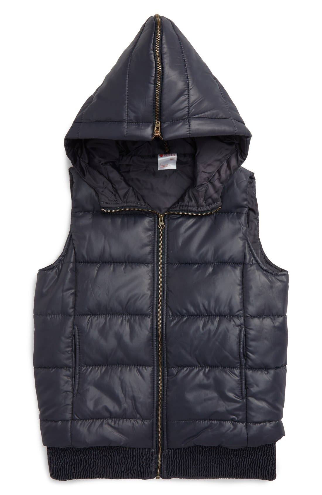 Alternate Image 1 Selected - Zella Girl Quilted Hooded Vest (Little Girls & Big Girls)