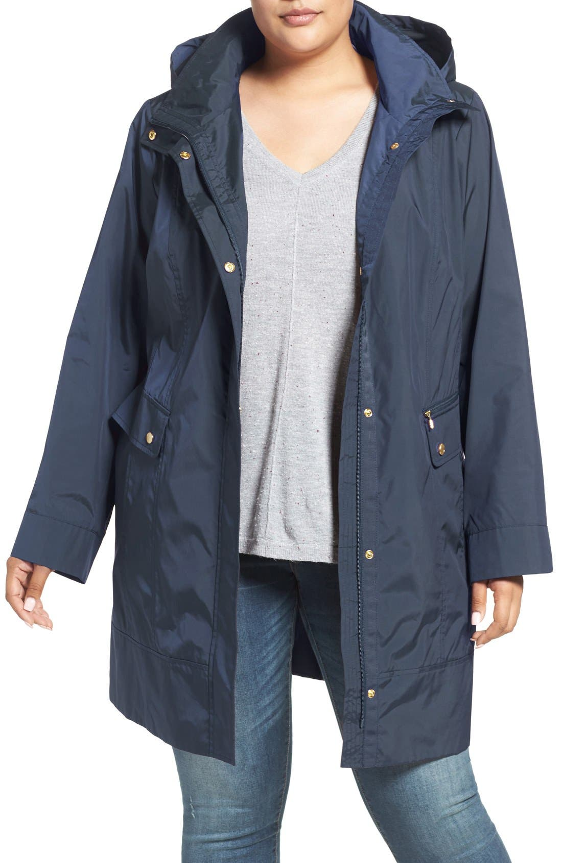 Alternate Image 1 Selected - Cole Haan Water Resistant Rain Jacket (Plus Size)