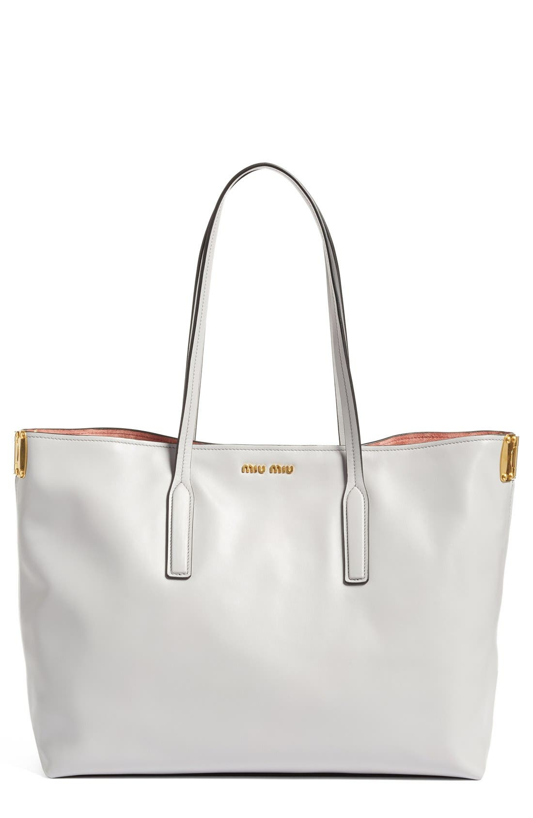 Alternate Image 1 Selected - Miu Miu Large Calfskin Leather Shopper