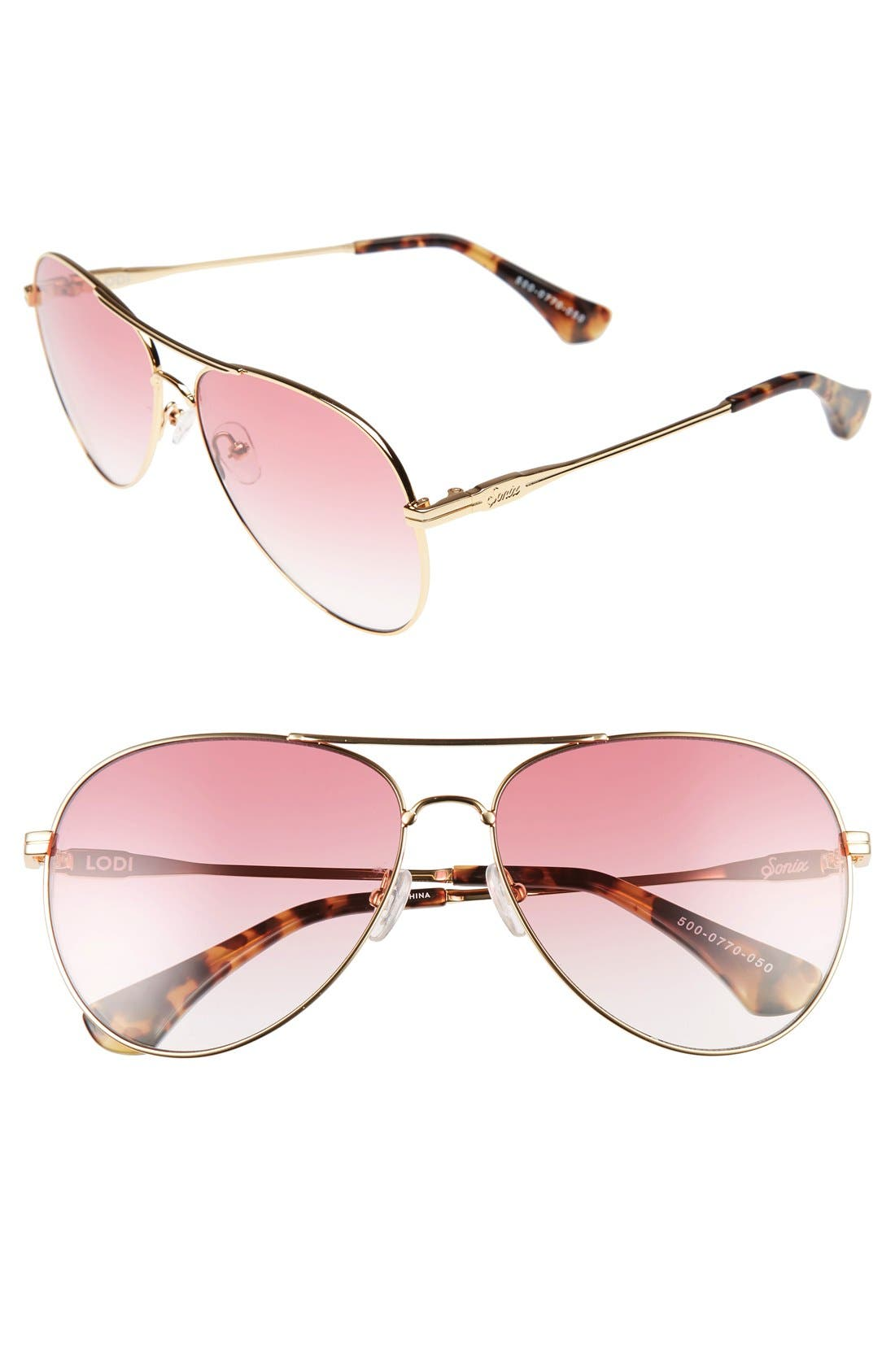 Lodi 62mm Mirrored Aviator Sunglasses,                         Main,                         color, Rouge/ Gold