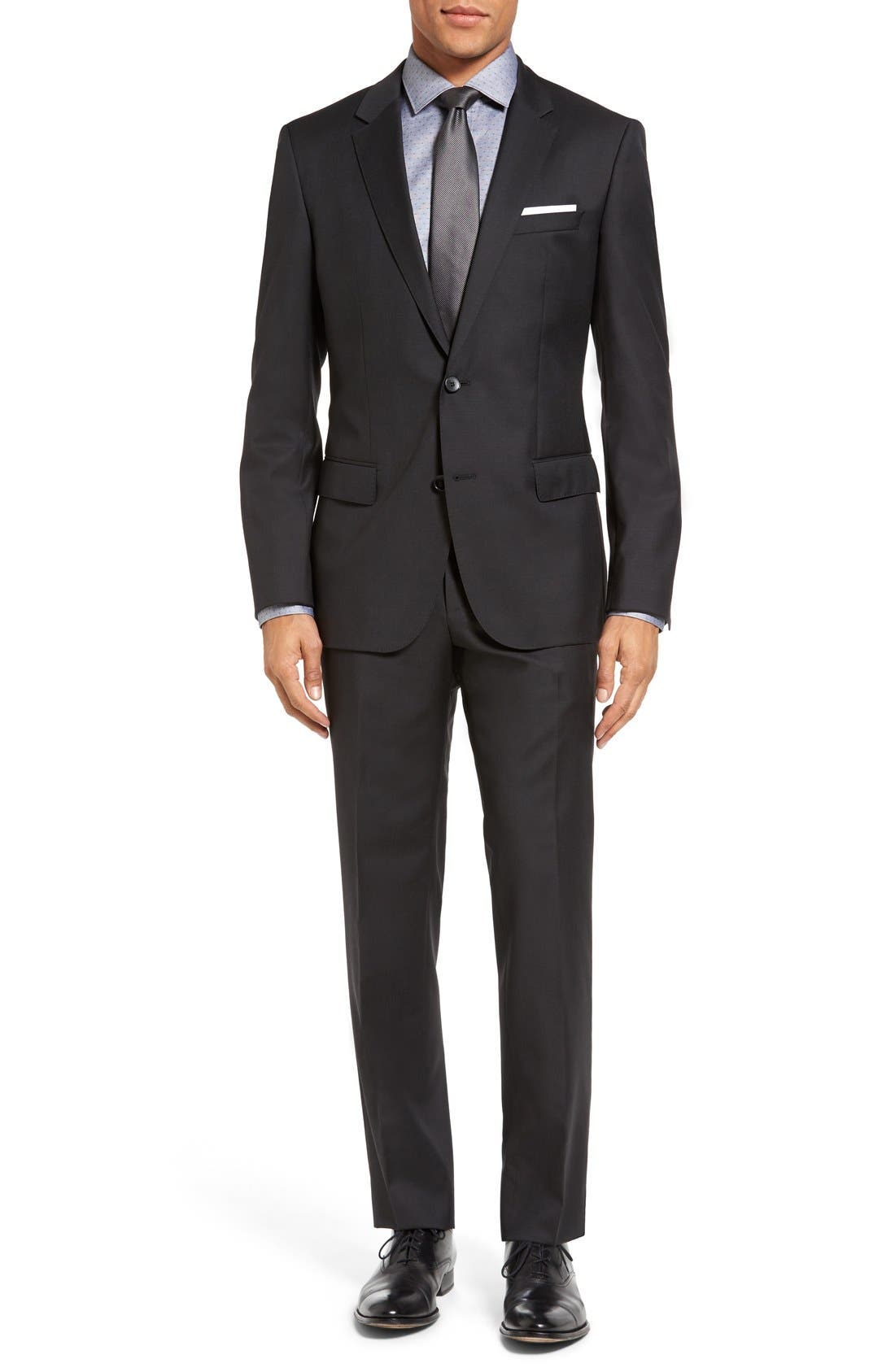 Huge/Genius Trim Fit Wool Suit,                         Main,                         color, Charcoal
