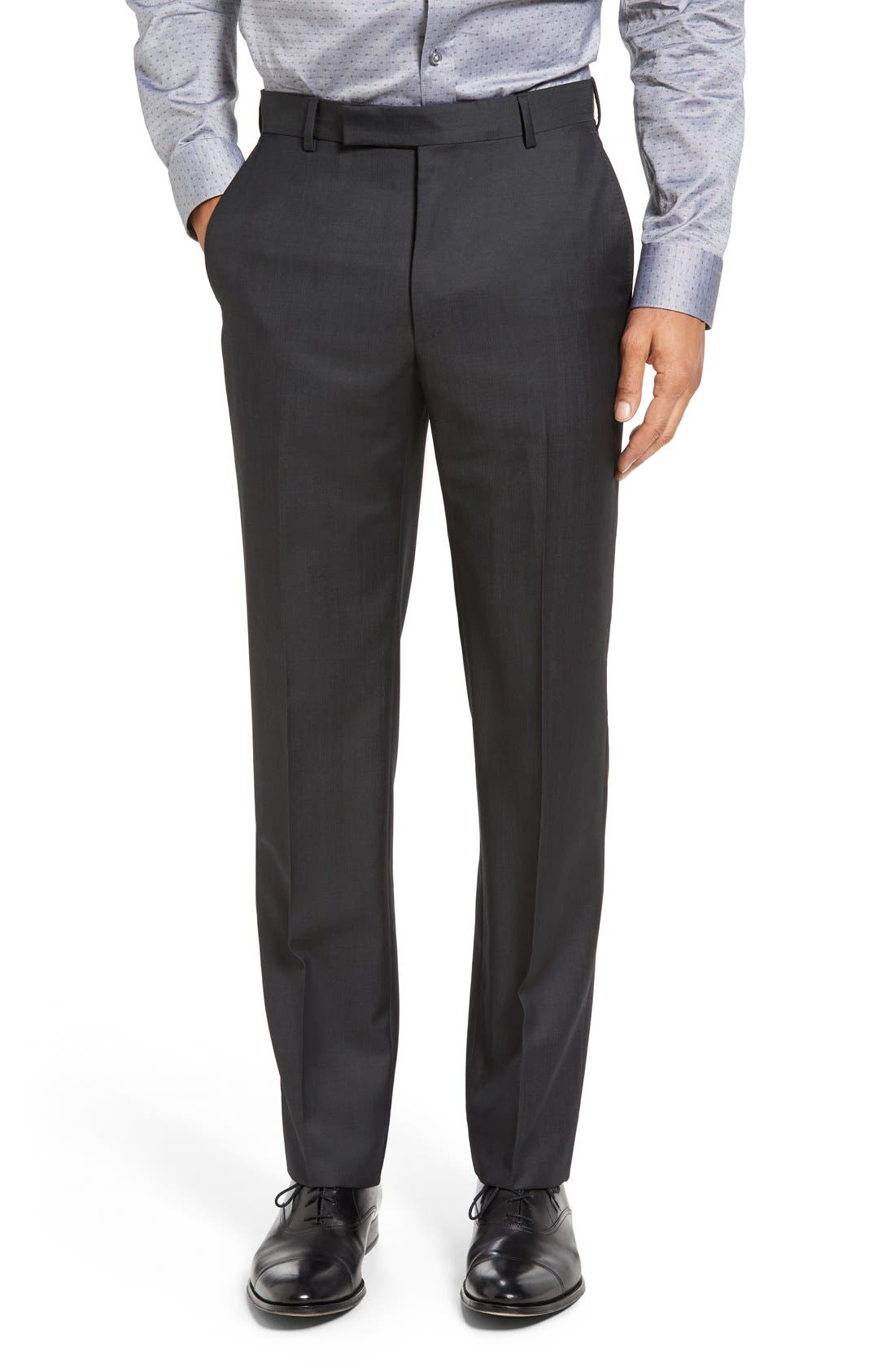 Trim Fit Solid Wool Suit,                             Alternate thumbnail 6, color,                             Dark Grey