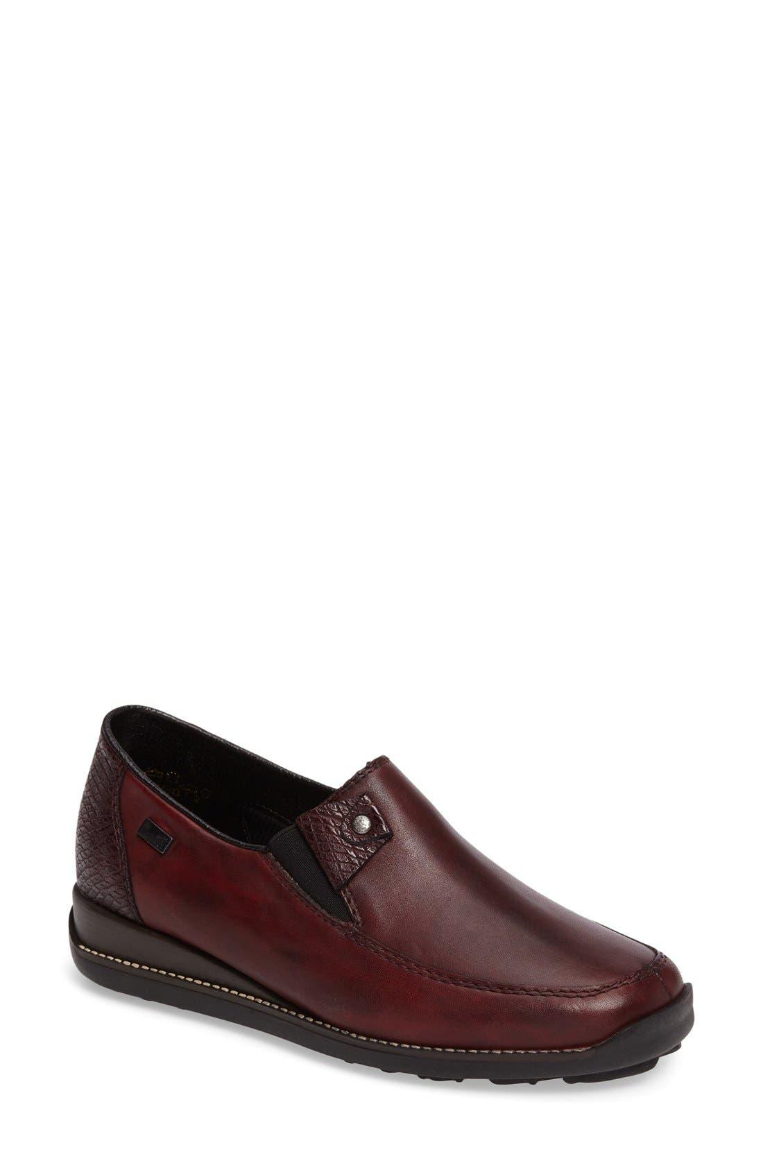 'Daphne' Wedge,                             Main thumbnail 1, color,                             Bordeaux Leather