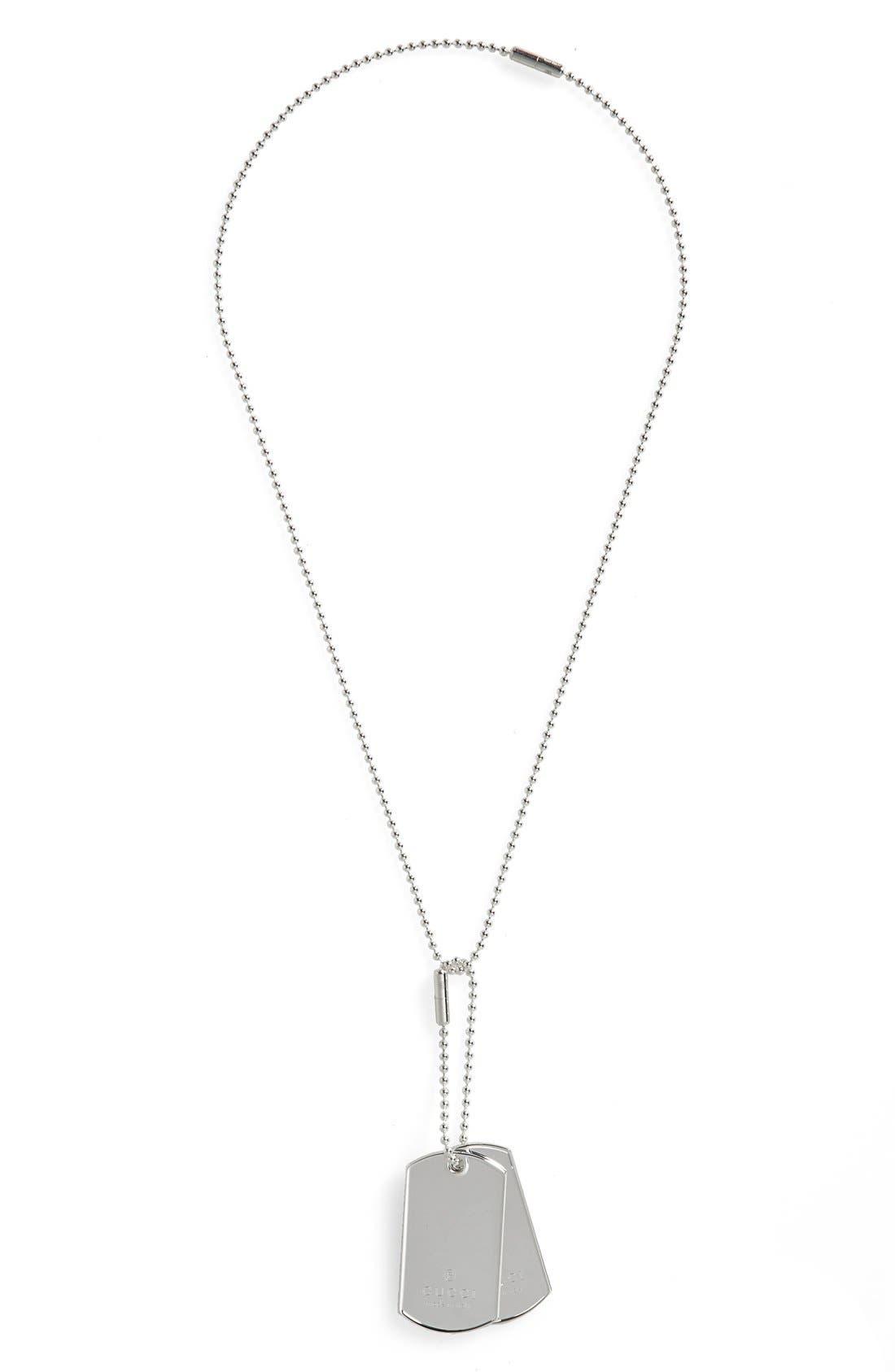 Silver Dog Tag Necklace,                             Main thumbnail 1, color,                             Silver