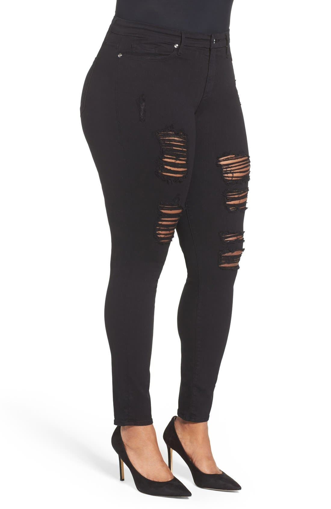 Alternate Image 9  - Good American Good Legs High Rise Ripped Skinny Jeans (Black 002)
