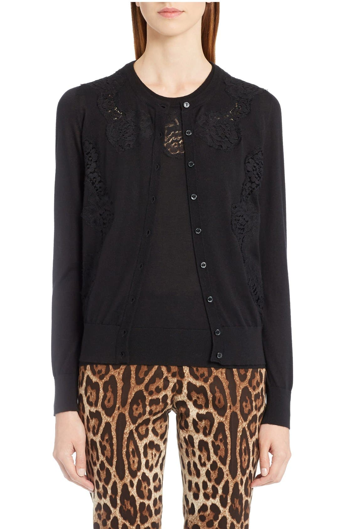 Main Image - Dolce&Gabbana Lace Inset Cashmere Blend Cardigan