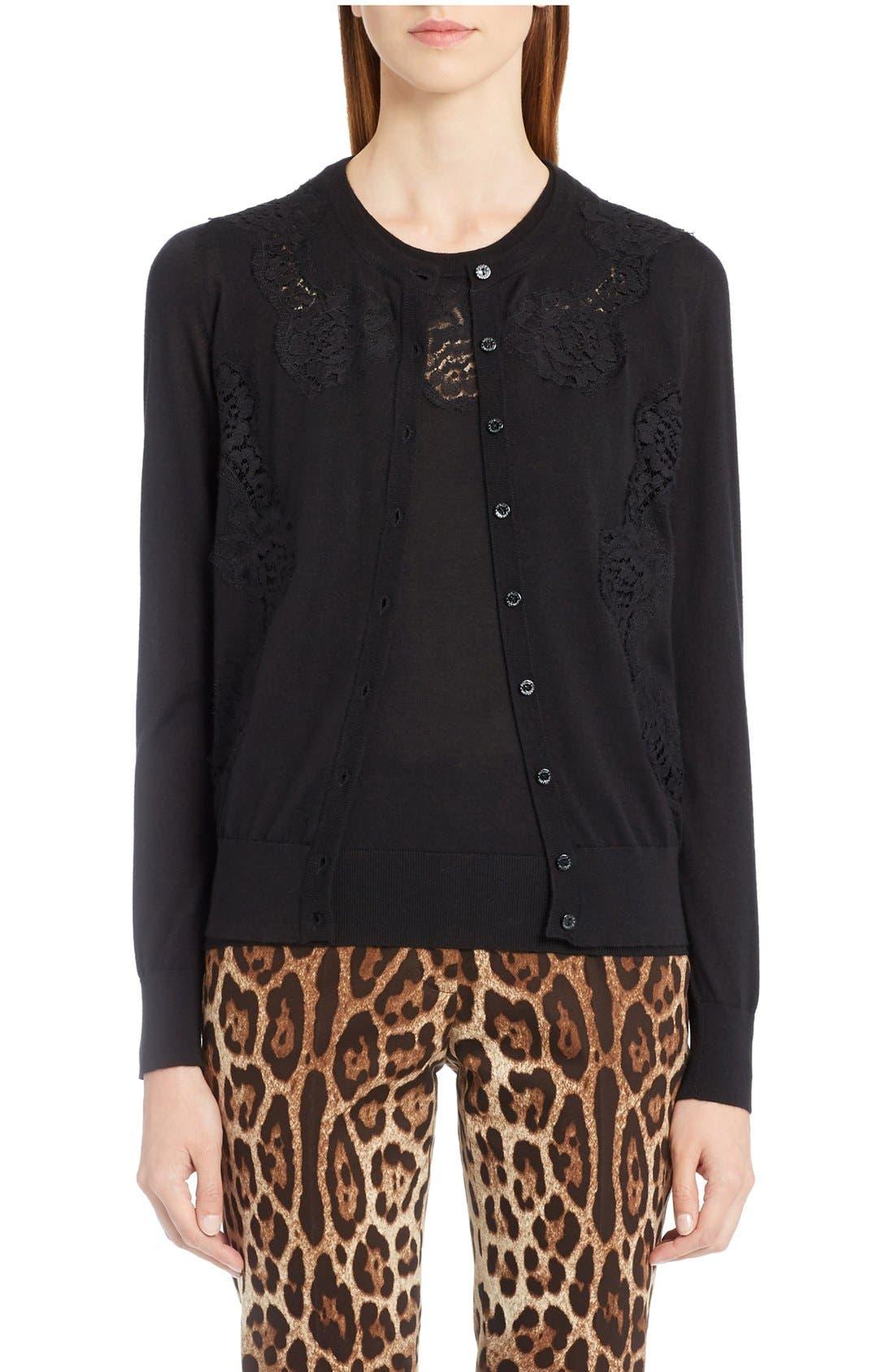 Lace Inset Cashmere Blend Cardigan,                         Main,                         color, Black