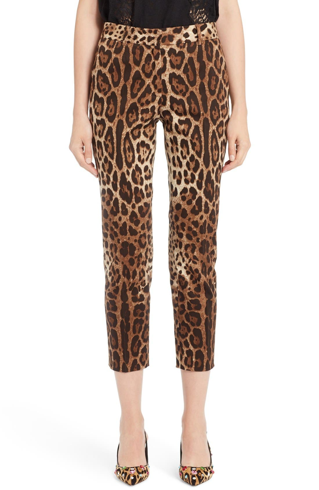 Leopard Print Ankle Pants,                             Main thumbnail 1, color,                             Leopard