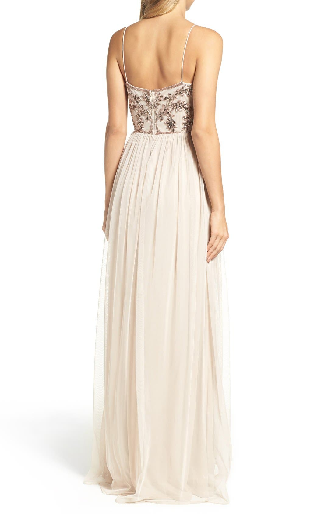Alternate Image 2  - Adrianna Papell Spaghetti Strap Embroidered Bodice Gown