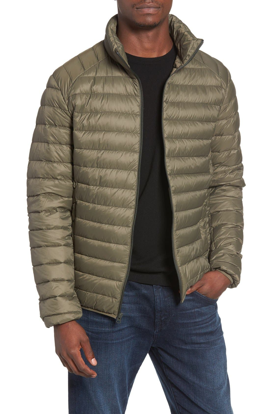 Quilted Down Jacket,                         Main,                         color, Olive