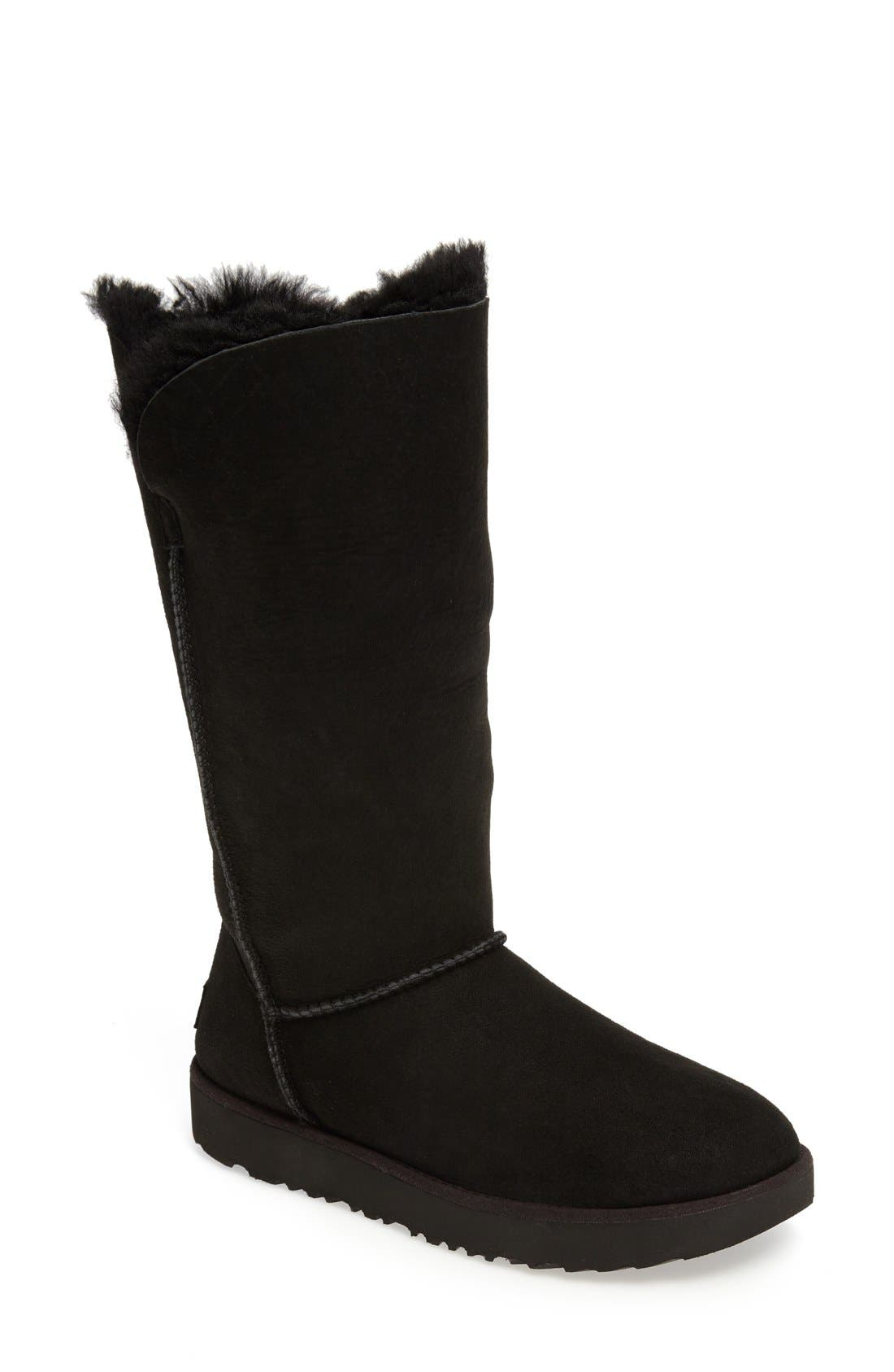 Classic Cuff Tall Boot,                             Main thumbnail 1, color,                             Black Suede