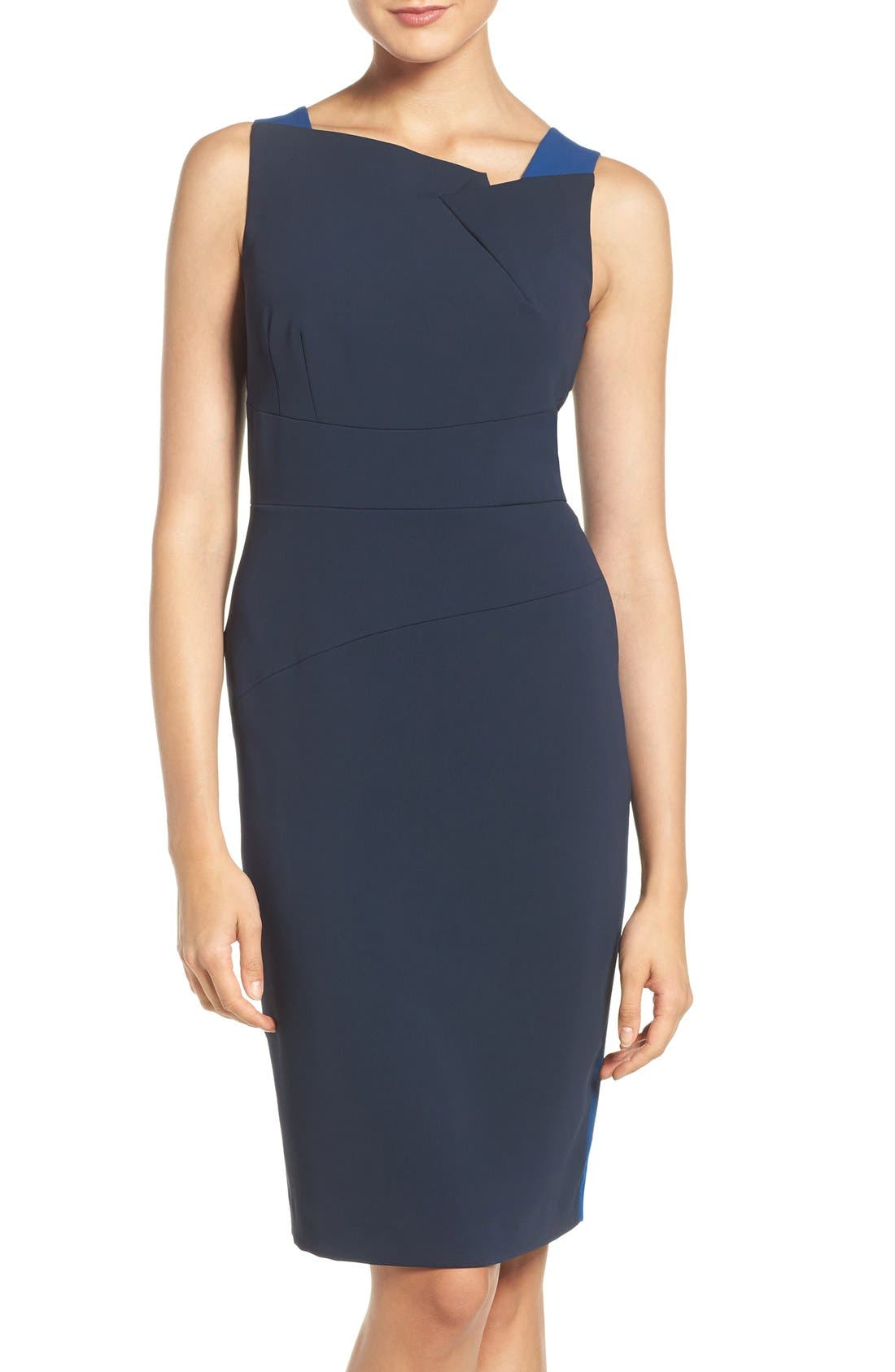 Alternate Image 1 Selected - Adrianna Papell Colorblock Stretch Sheath Dress