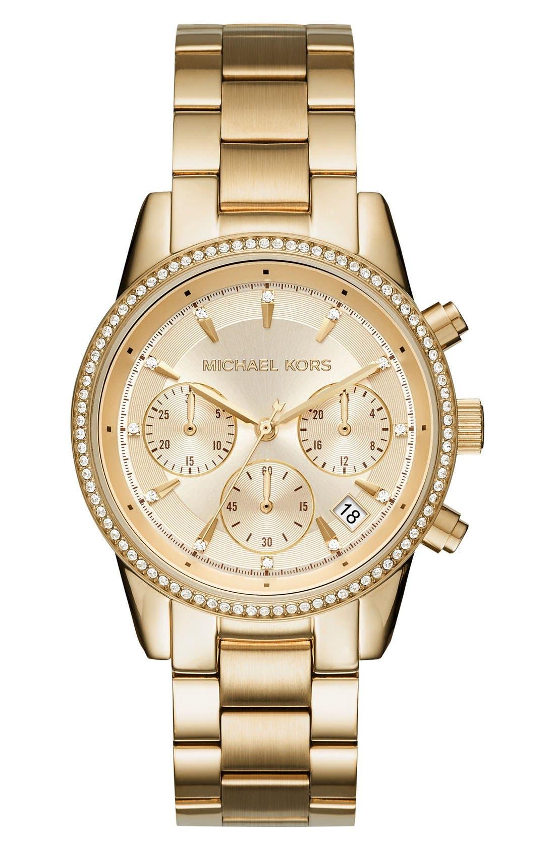 Main Image - Michael Kors Ritz Chronograph Bracelet Watch, 37mm