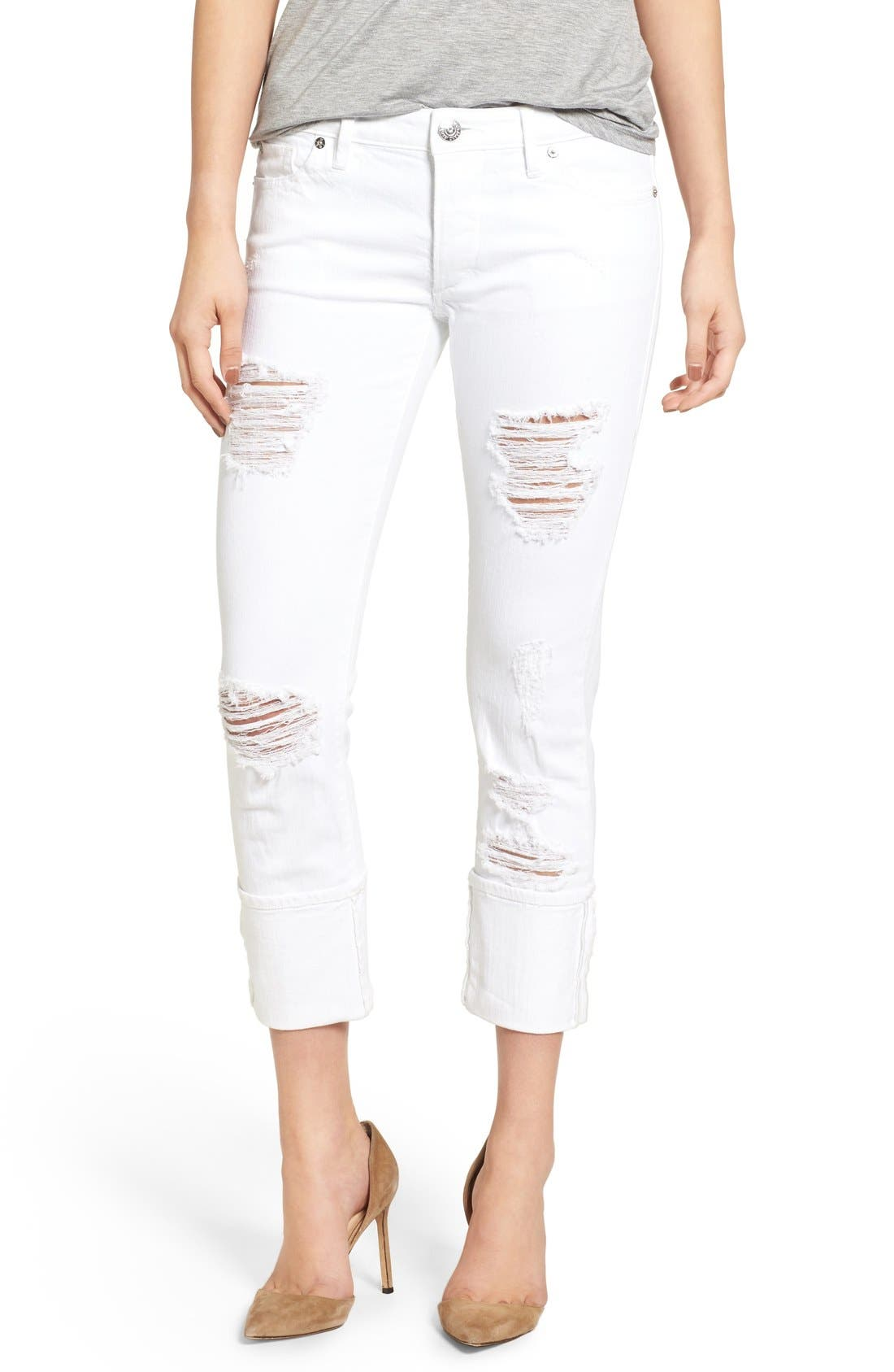 Liv Relaxed Skinny Jeans,                             Main thumbnail 1, color,                             Bright White Destroyed