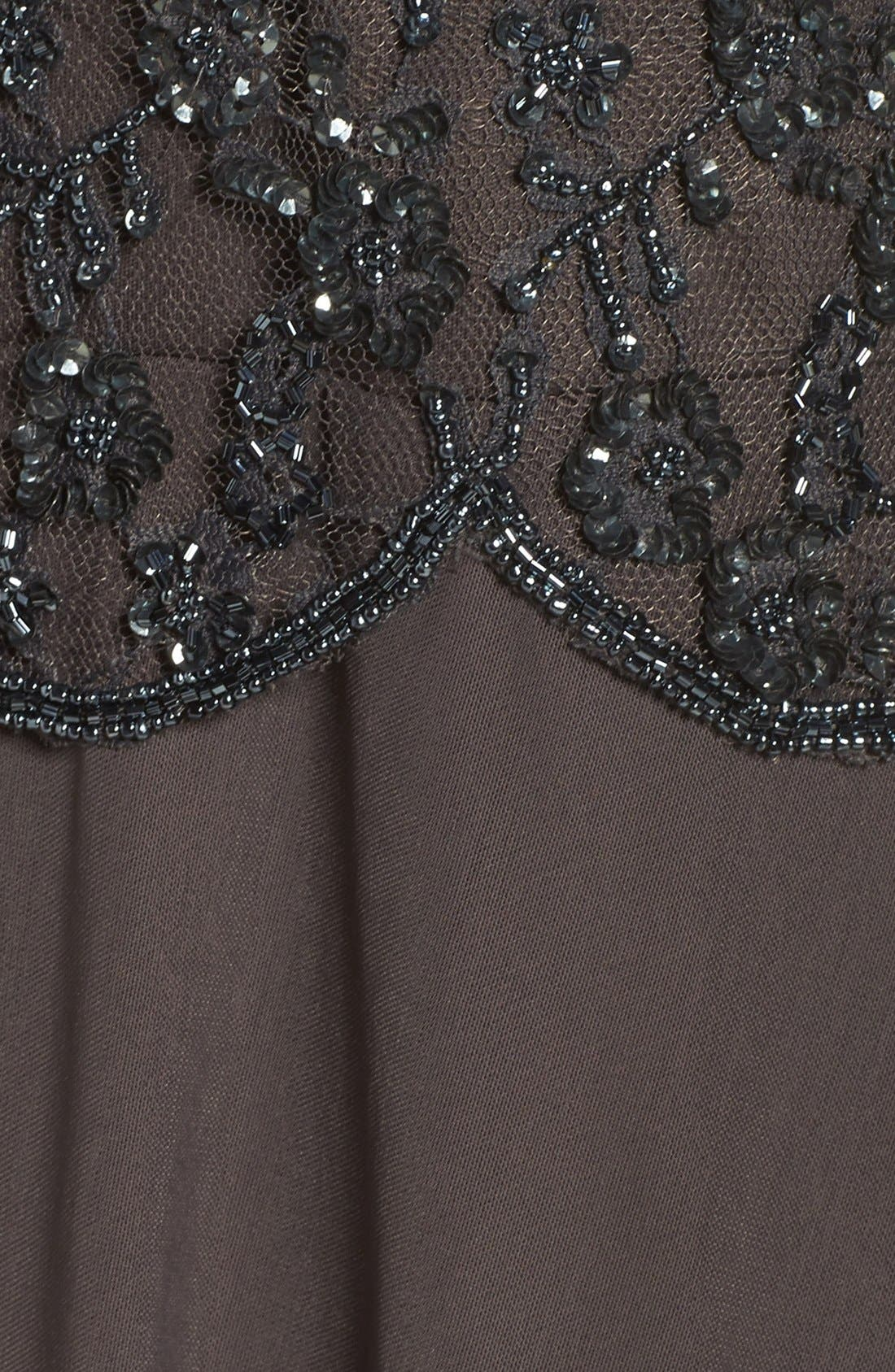 Embellished Mesh Gown,                             Alternate thumbnail 5, color,                             Slate