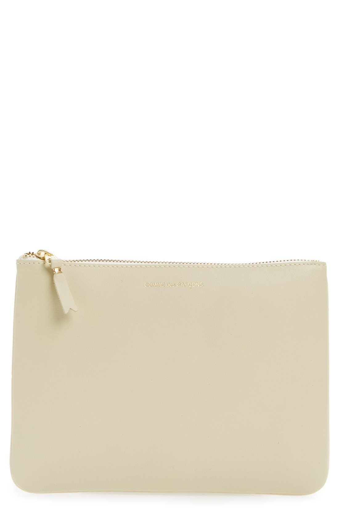 Medium Classic Leather Zip-Up Pouch,                             Main thumbnail 1, color,                             Off White