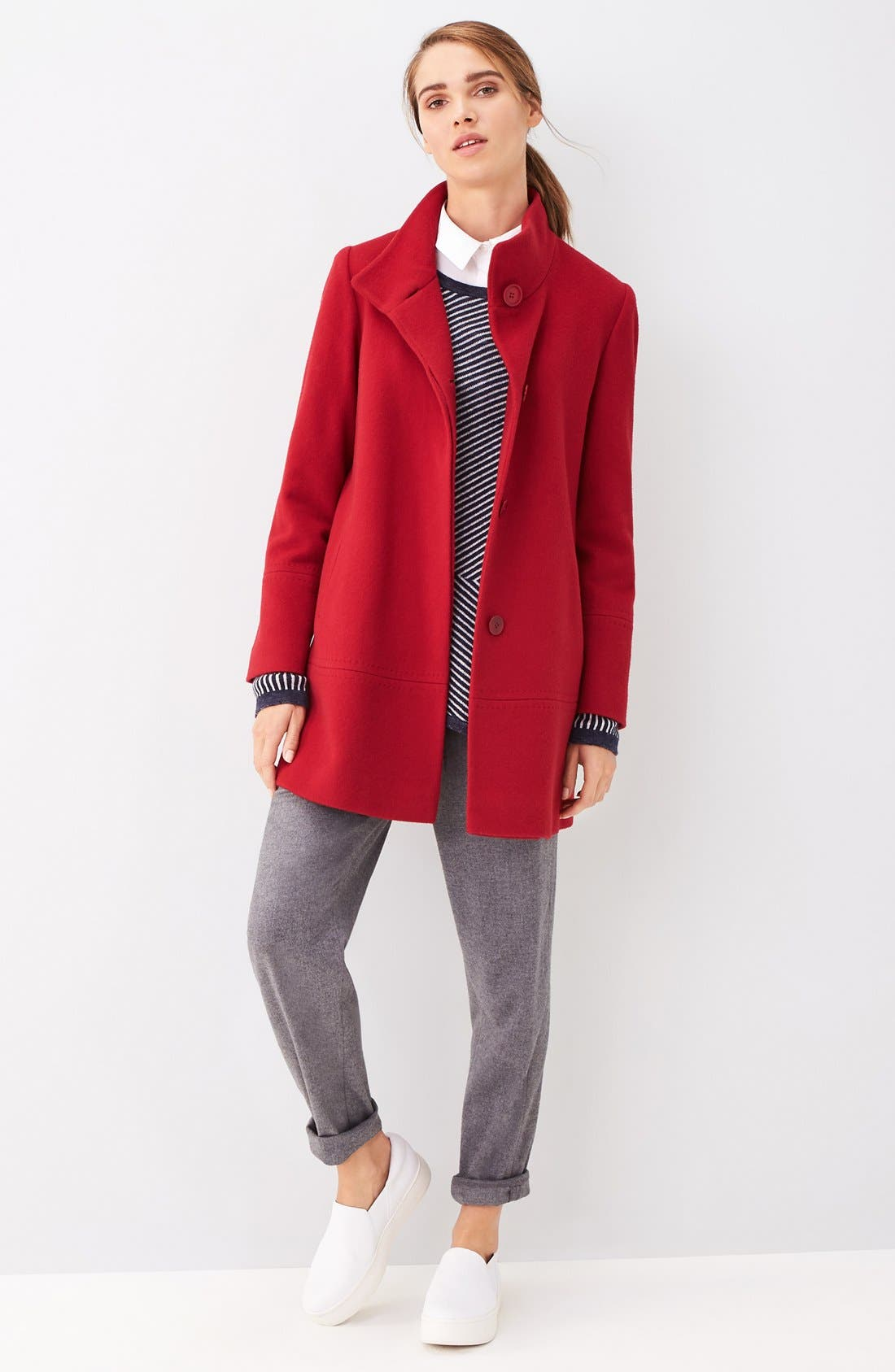 Alternate Image 2  - Fleurette Loro Piana Wool Car Coat (Regular & Petite) (Nordstrom Exclusive)