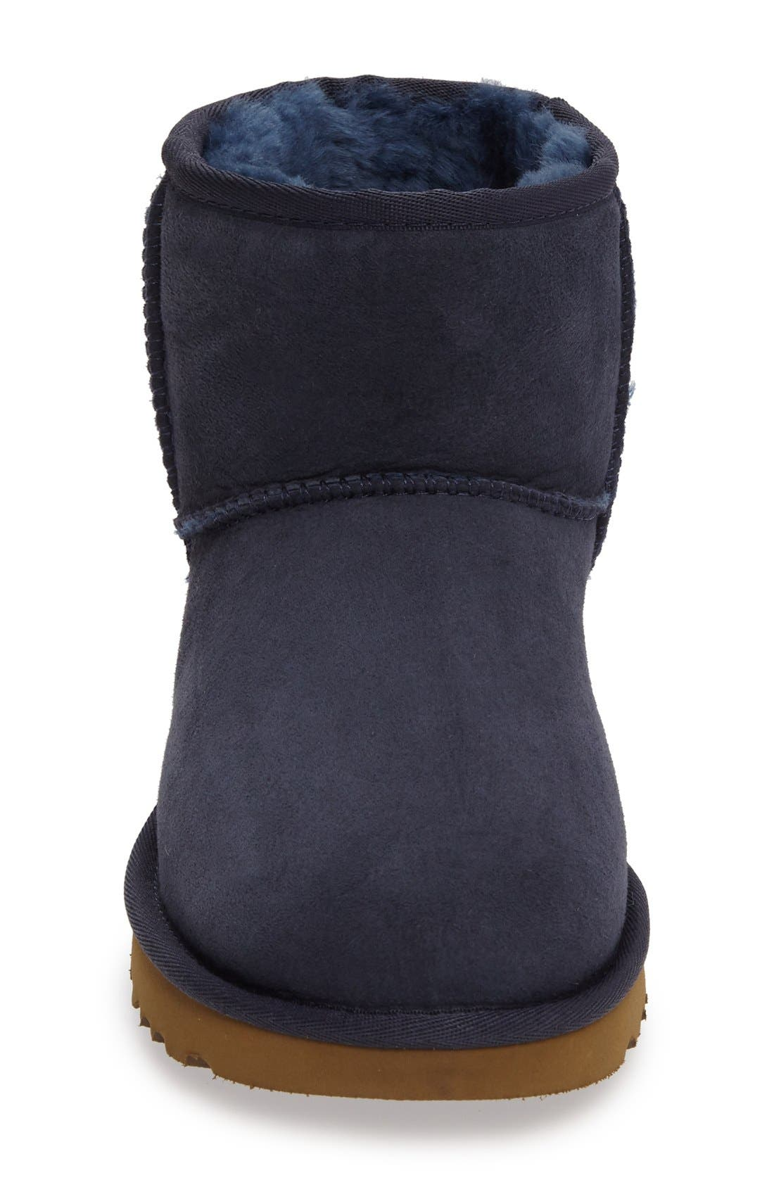 'Classic Mini II' Genuine Shearling Lined Boot,                             Alternate thumbnail 3, color,                             Navy Suede