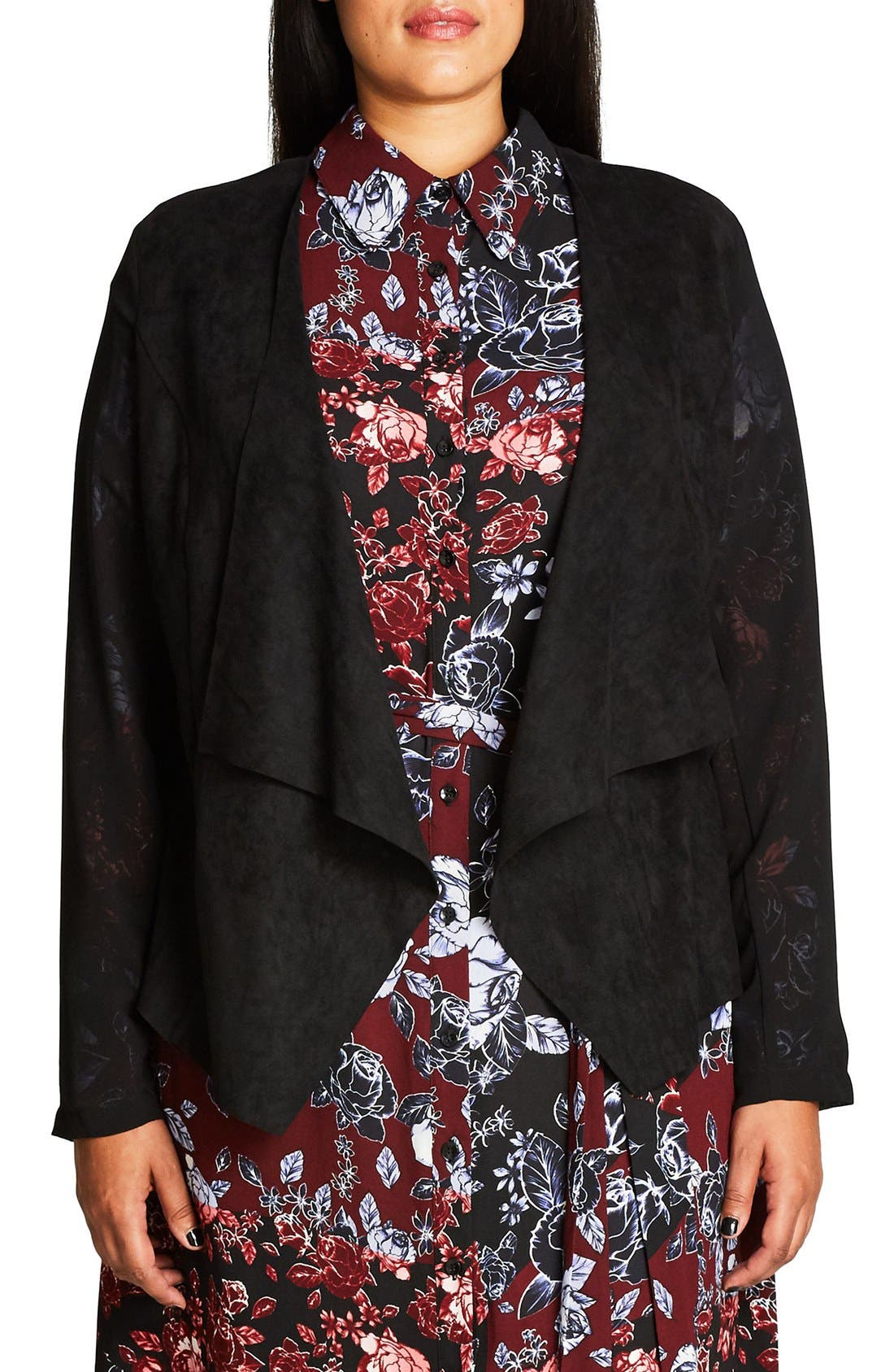 City Chic Sheer Sleeve Faux Suede Jacket (Plus Size)