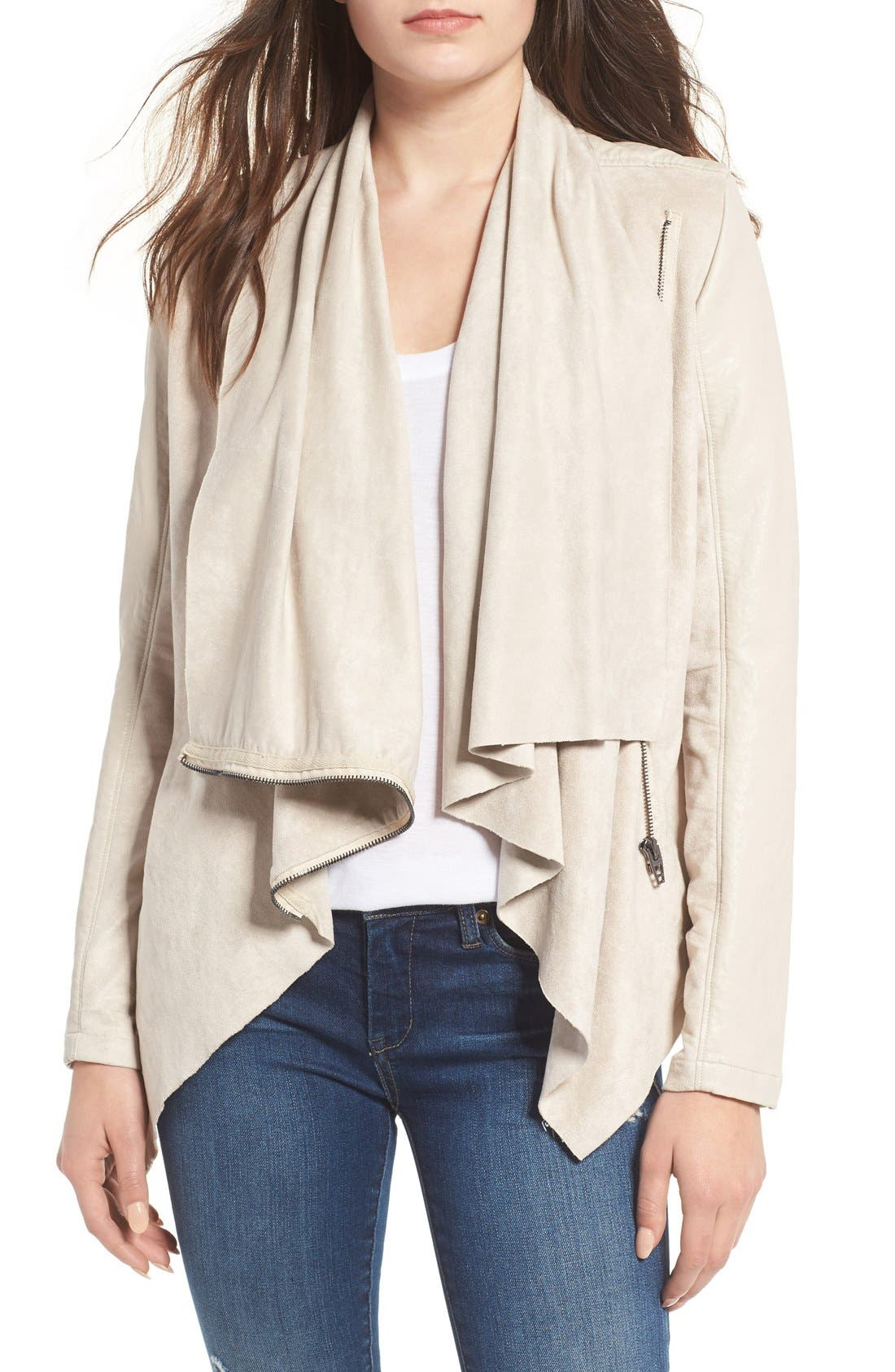 Mixed Media Faux Leather Drape Front Jacket,                         Main,                         color, Off White