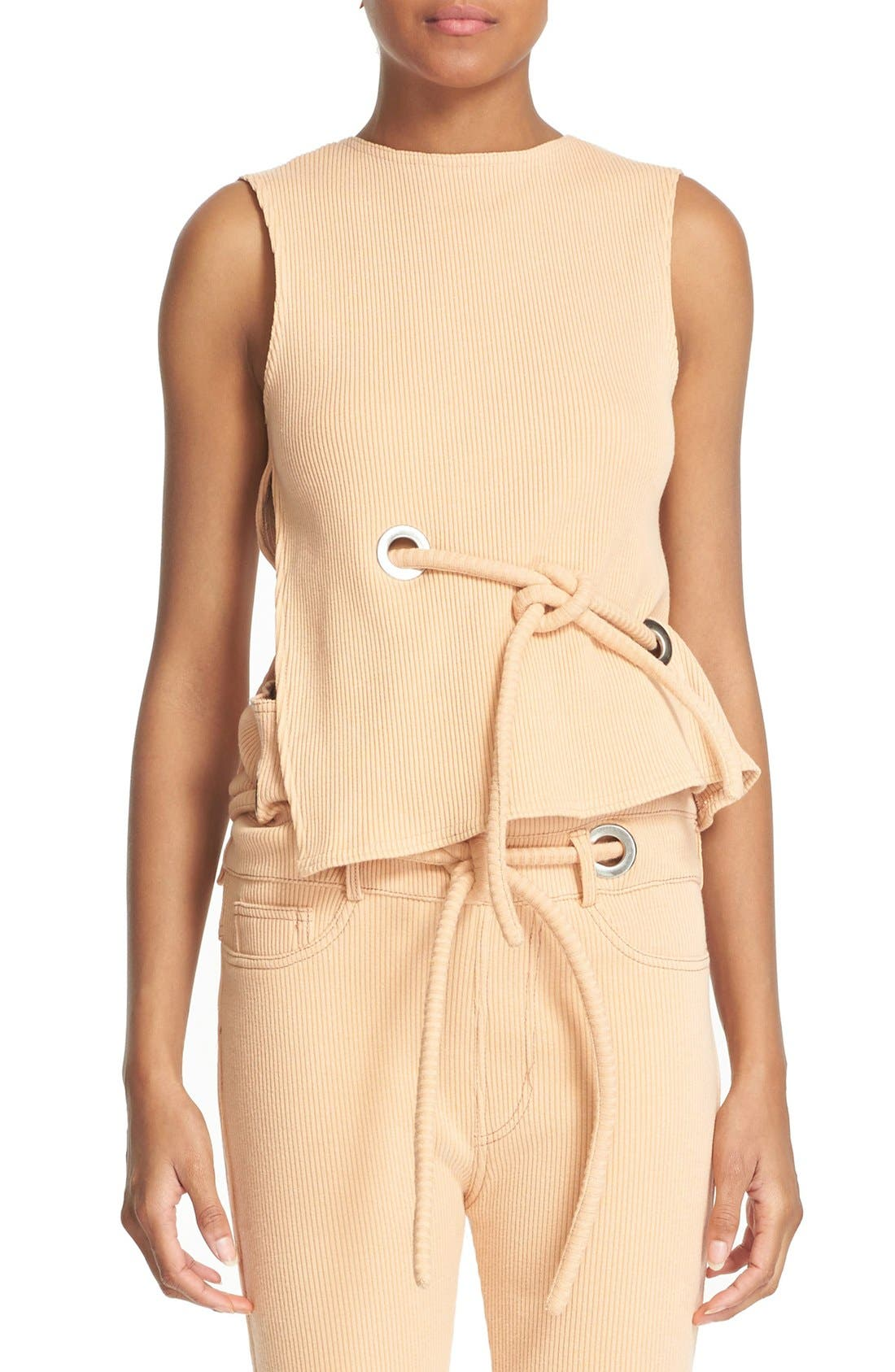 Main Image - faustine steinmetz Sleeveless Ribbed Stretch Cotton Top