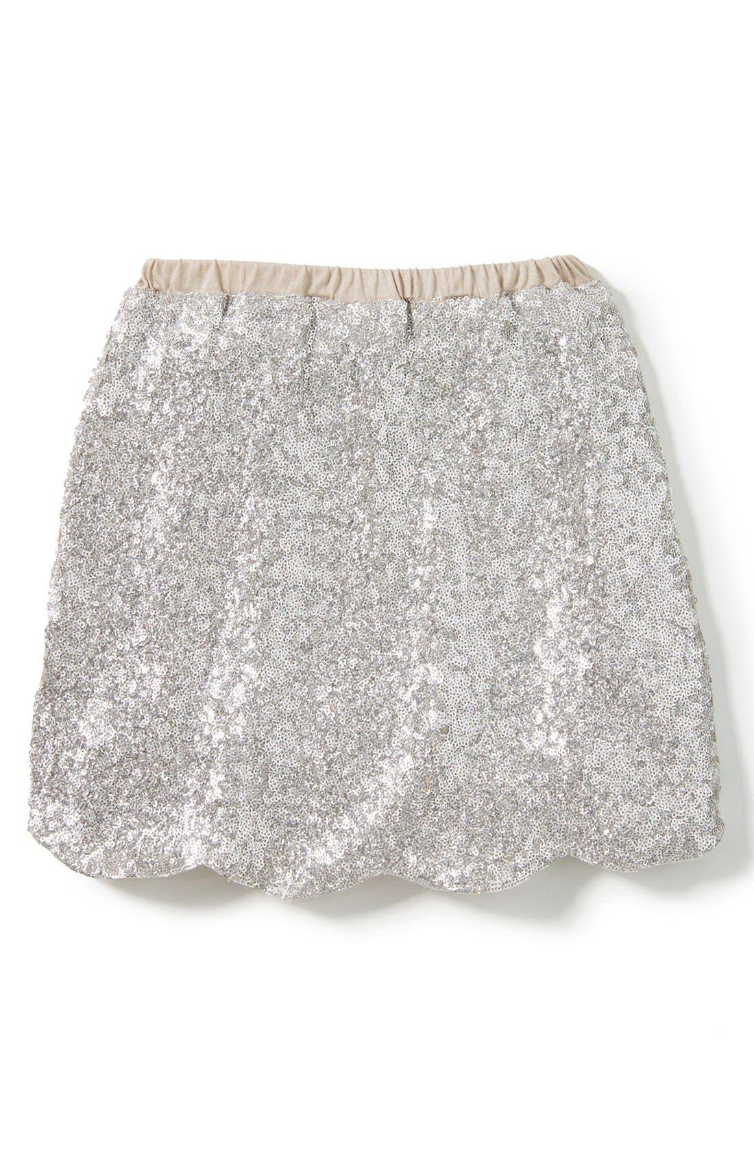 Drew Sequin Skirt,                             Main thumbnail 1, color,                             Silver
